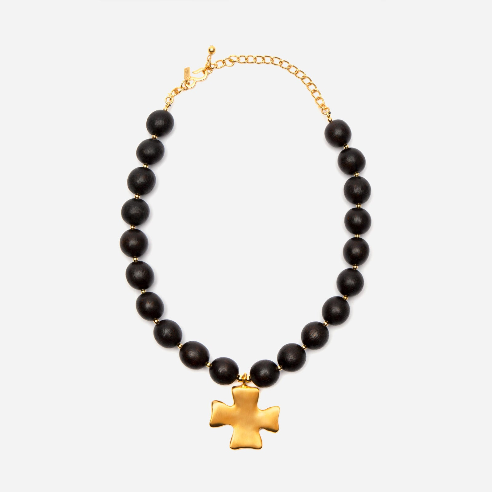 Black Bead Cross Necklace - Frances Valentine