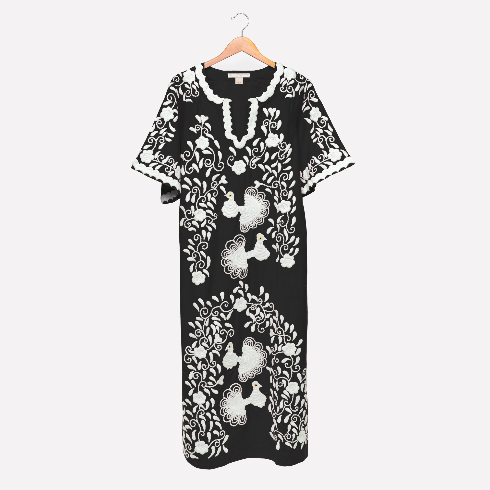Peacock Caftan Dress Black White