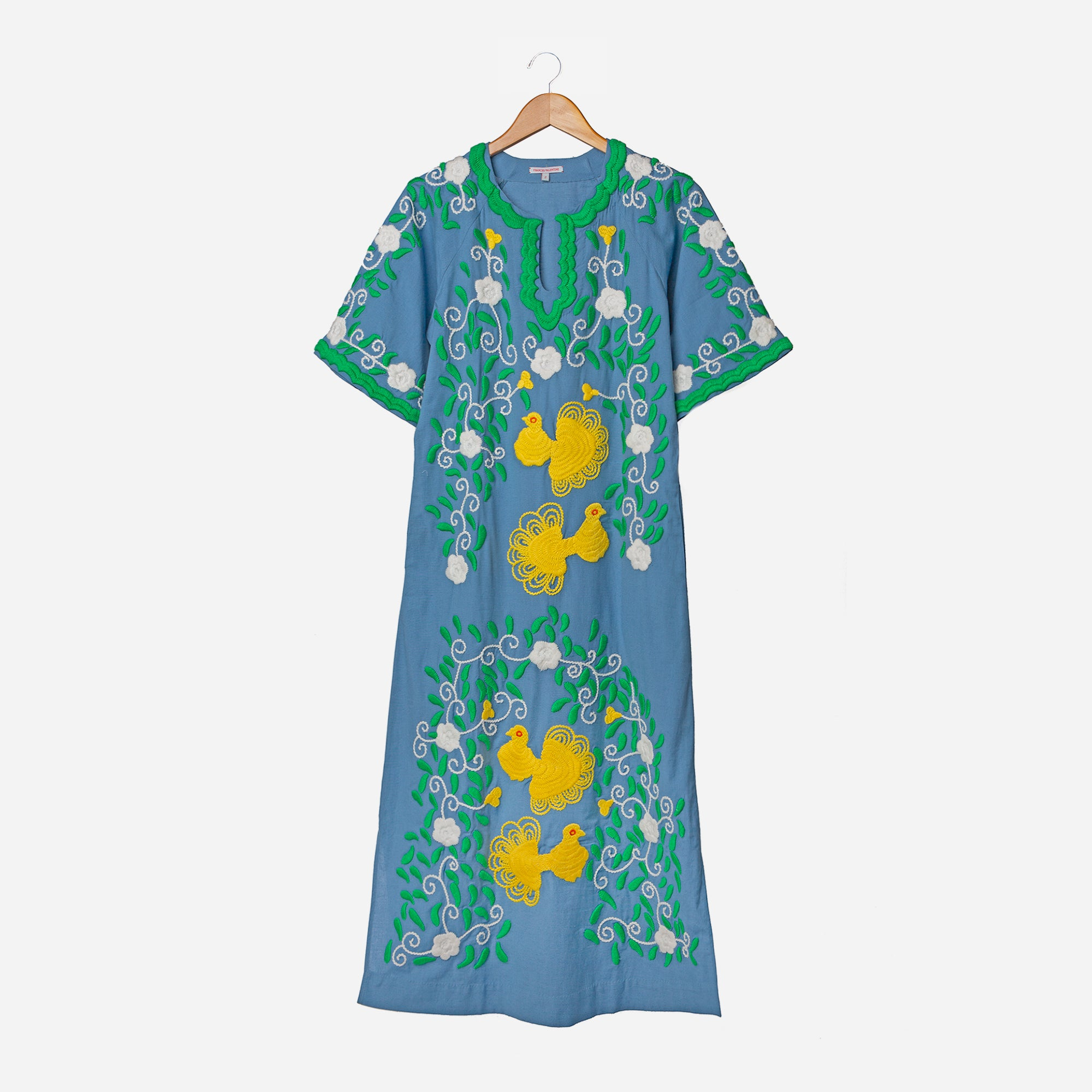 Peacock Colorful Caftan Dress Blue - Frances Valentine