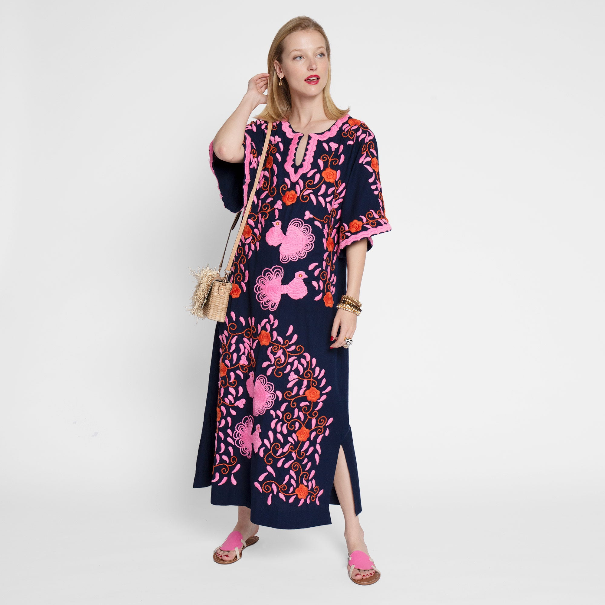 Peacock Caftan Dress Navy Pink Orange
