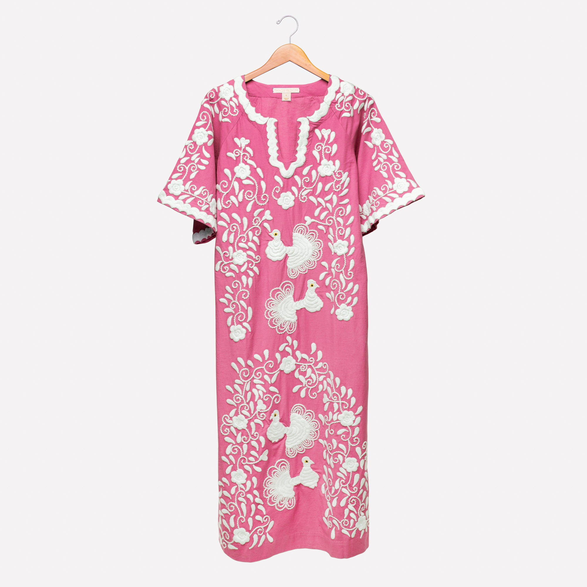 Peacock Caftan Dress Pink - Frances Valentine