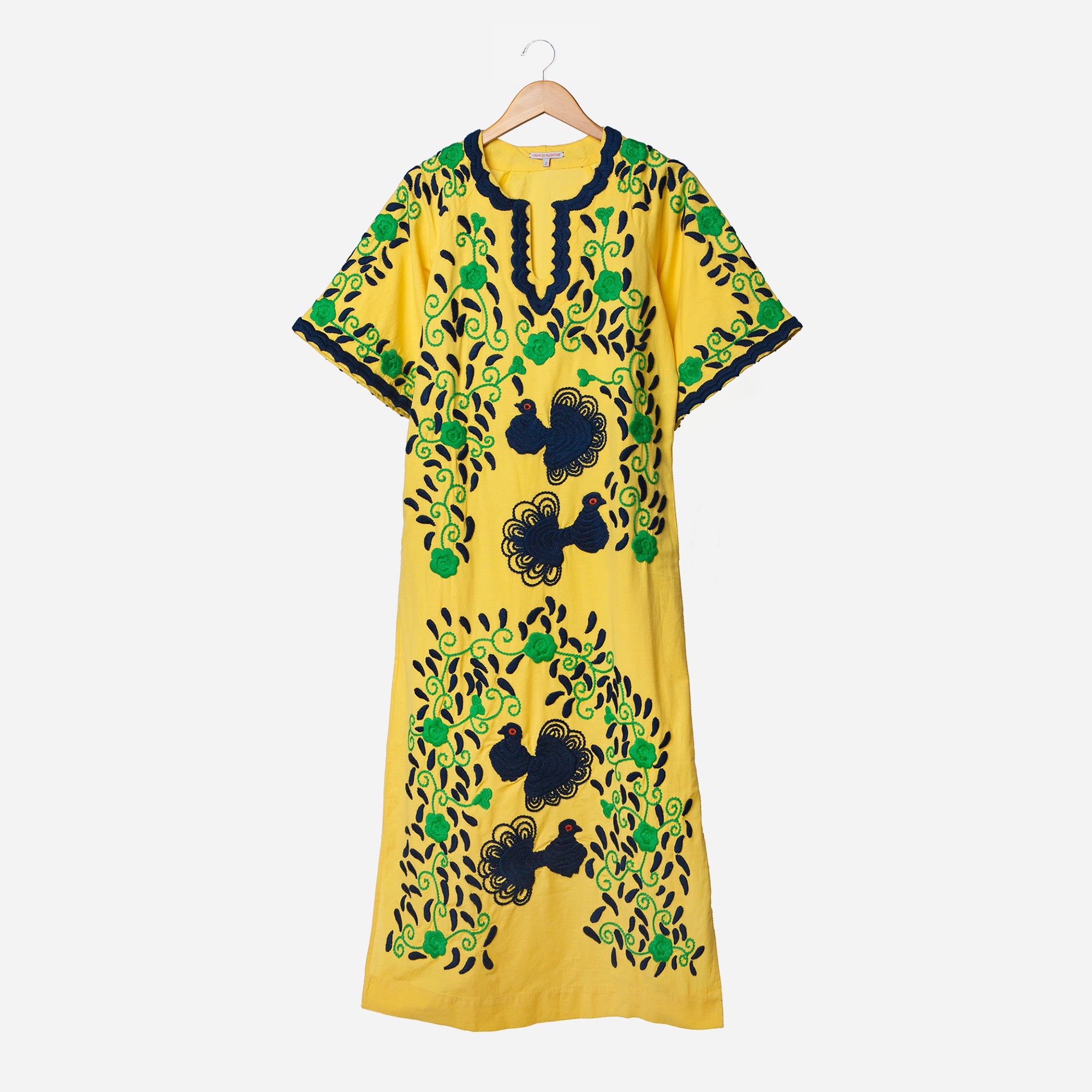 Peacock Colorful  Caftan Dress Yellow Green Navy