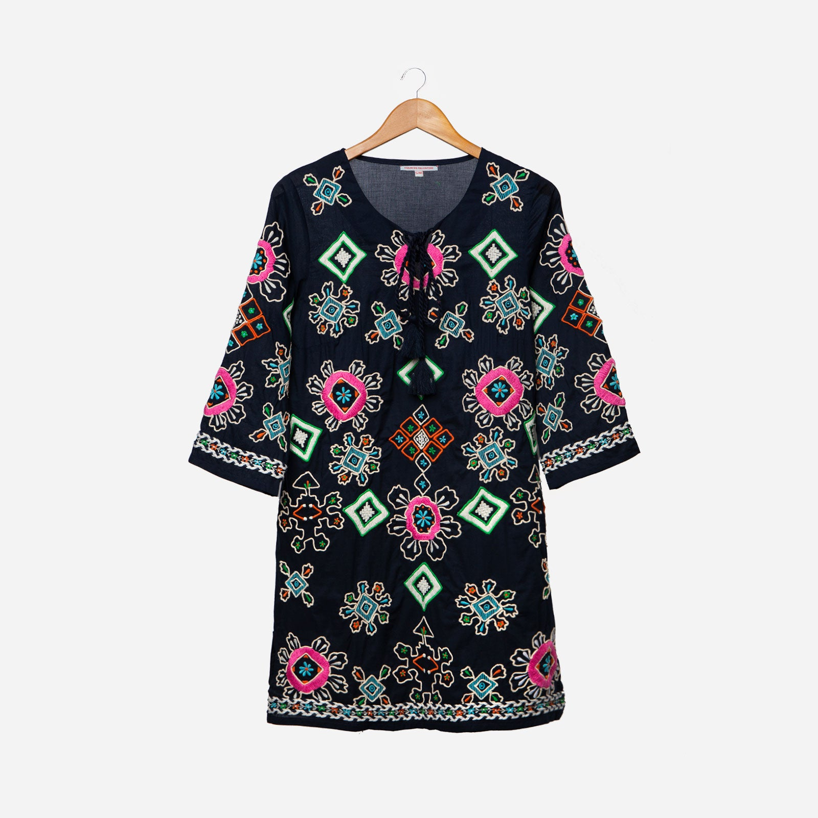 Capri Embroidered Tunic Navy - Frances Valentine