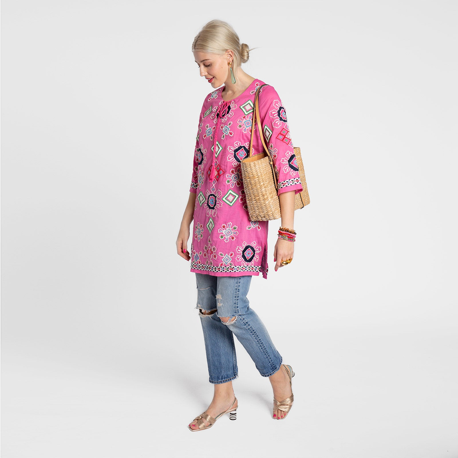 Capri Embroidered Tunic Pink - Frances Valentine