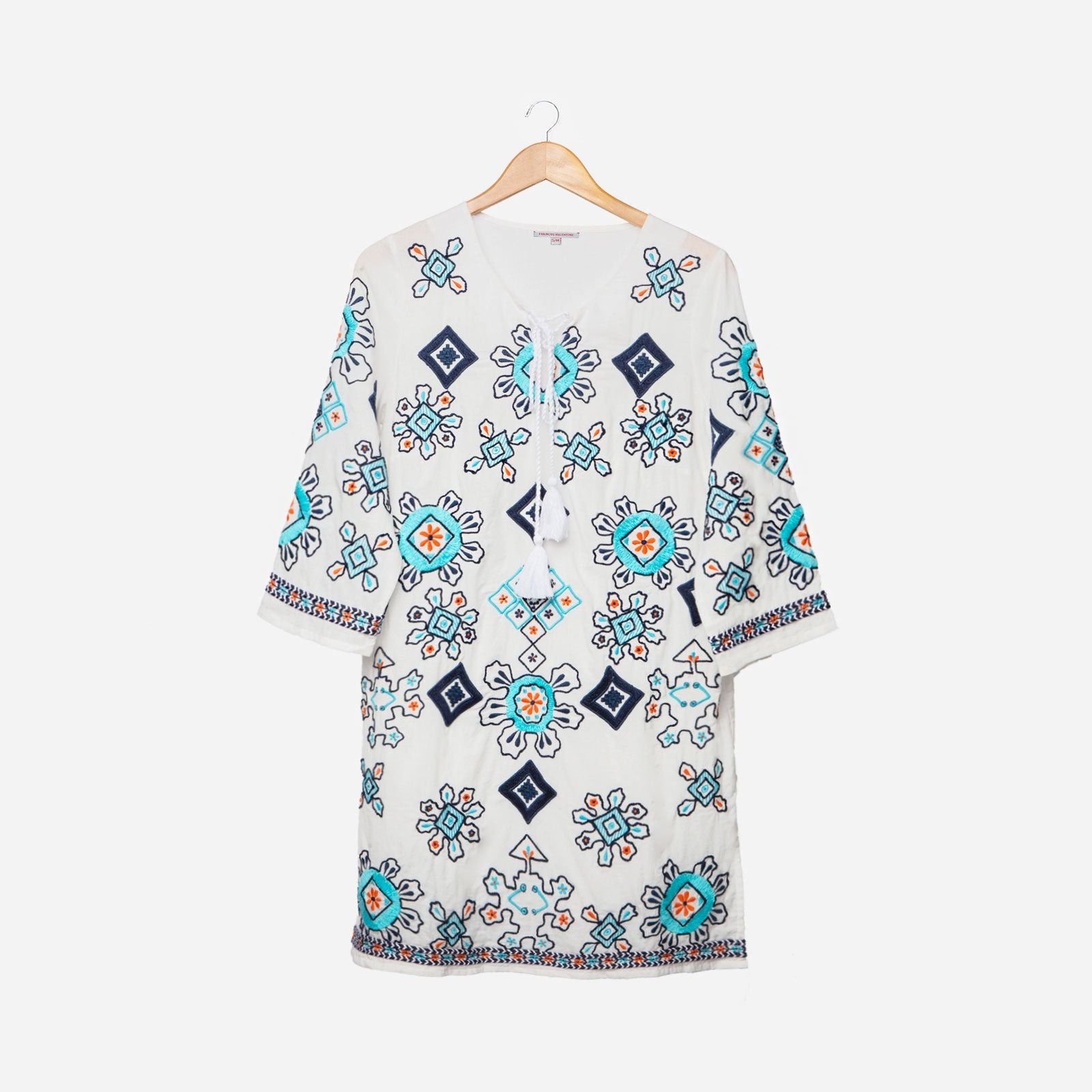 Capri Embroidered Tunic Oyster - Frances Valentine