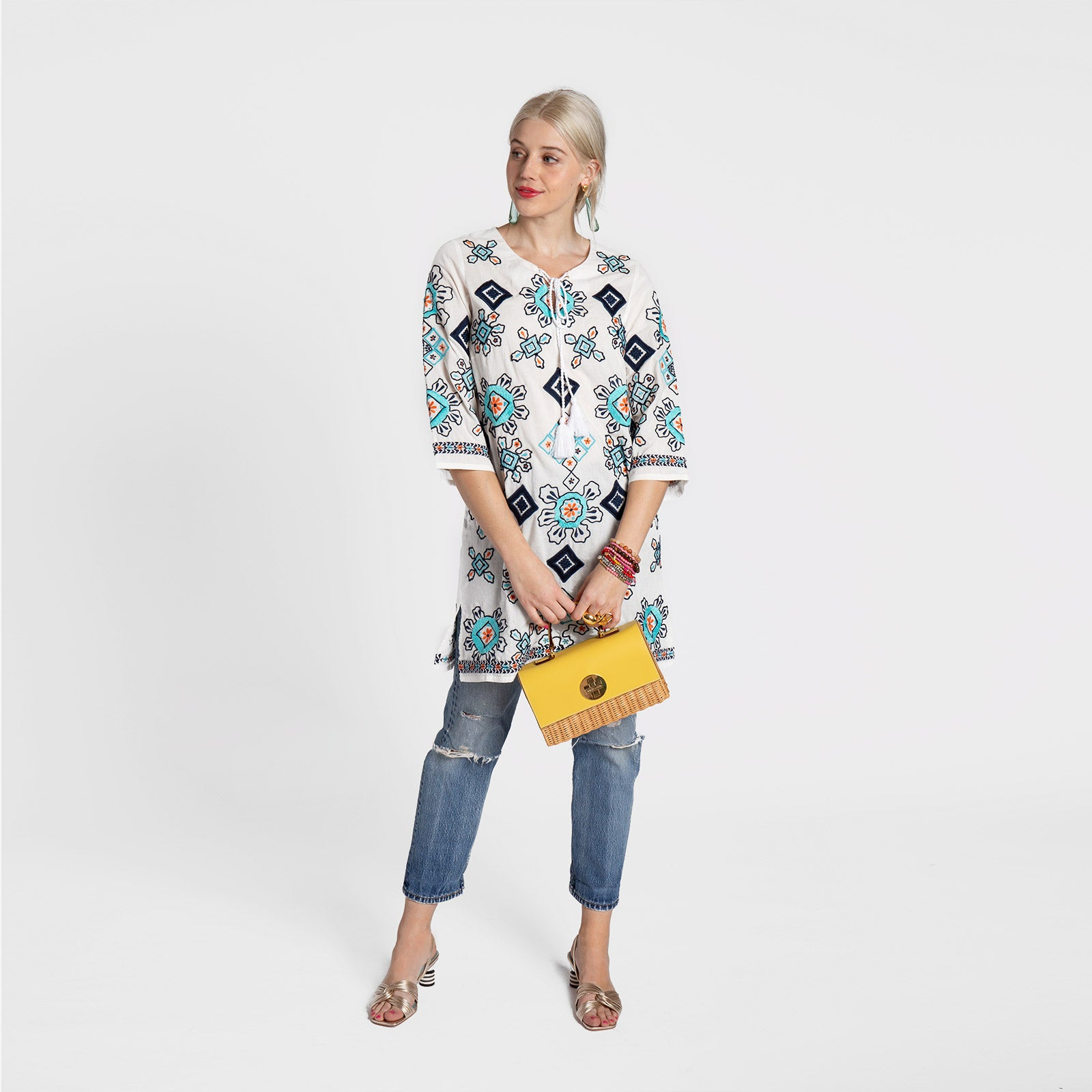 Capri Embroidered Tunic Oyster