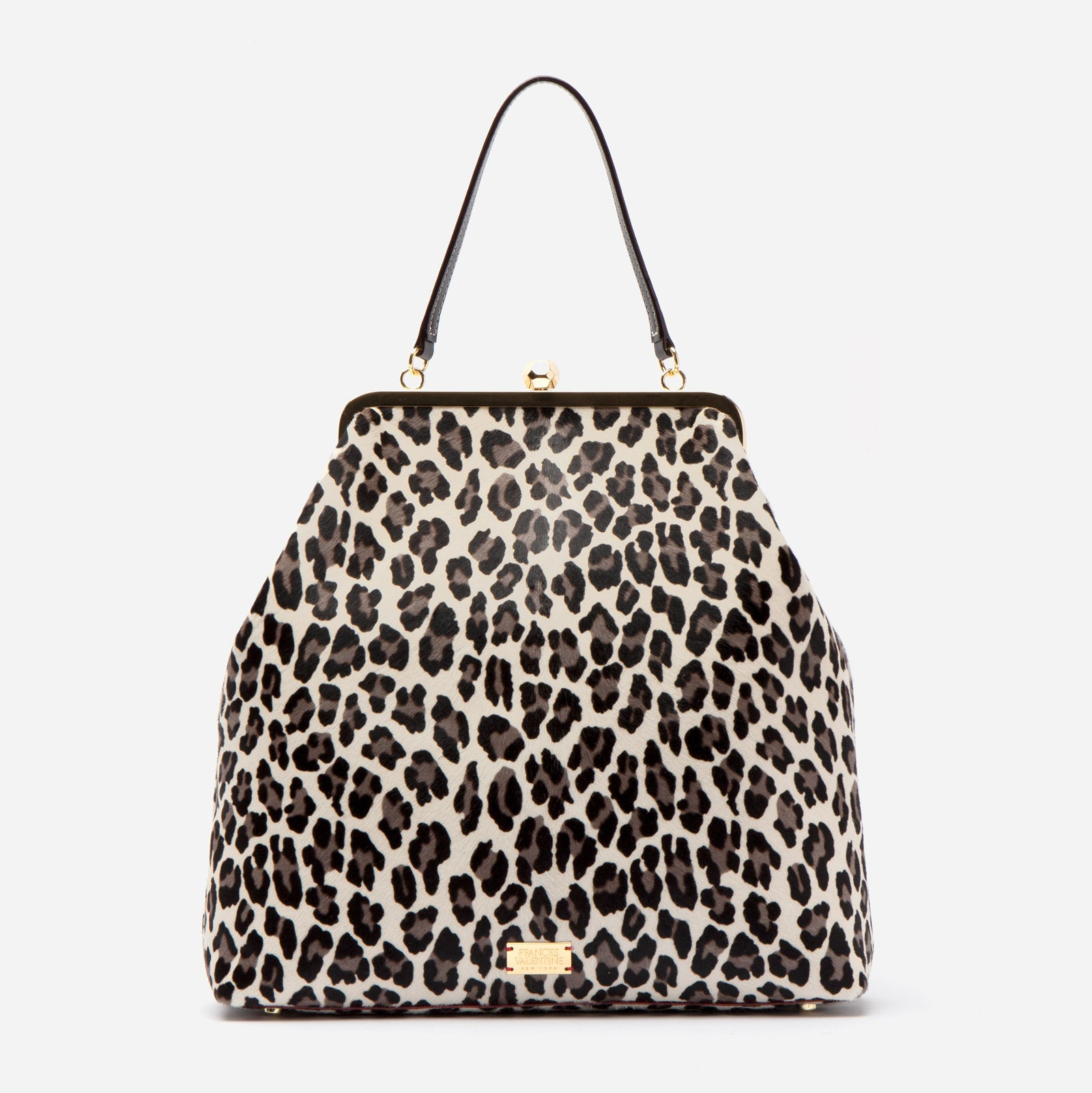 Caroline Crossbody Printed Haircalf Snow Leopard - Frances Valentine