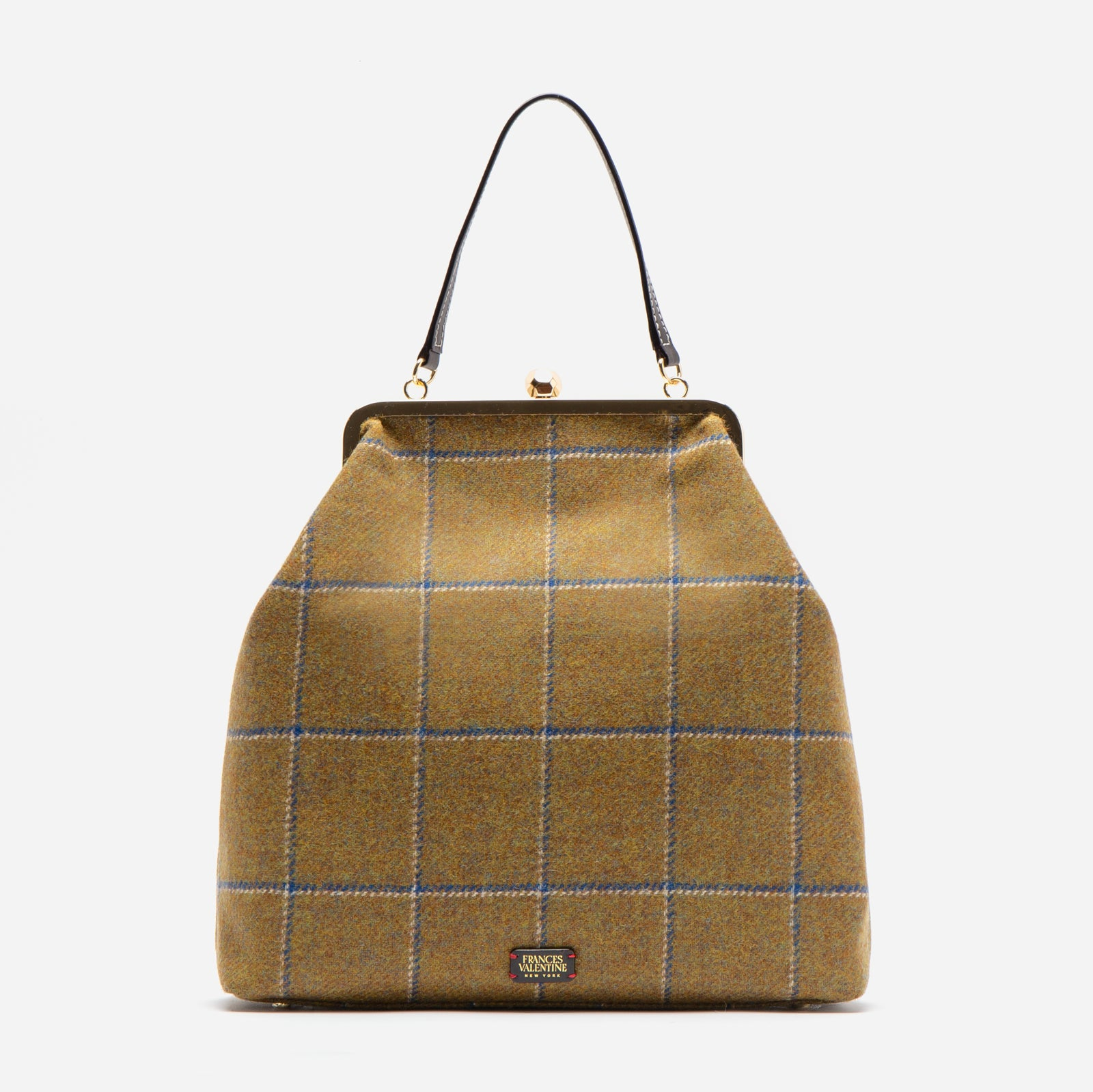 Caroline Crossbody Wool Plaid Olive Navy