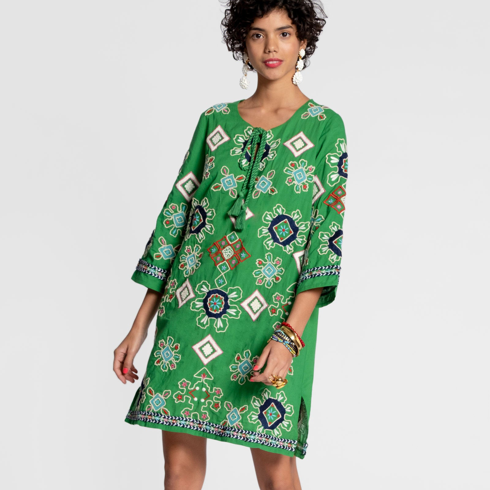 Capri Embroidered Tunic Green - Frances Valentine