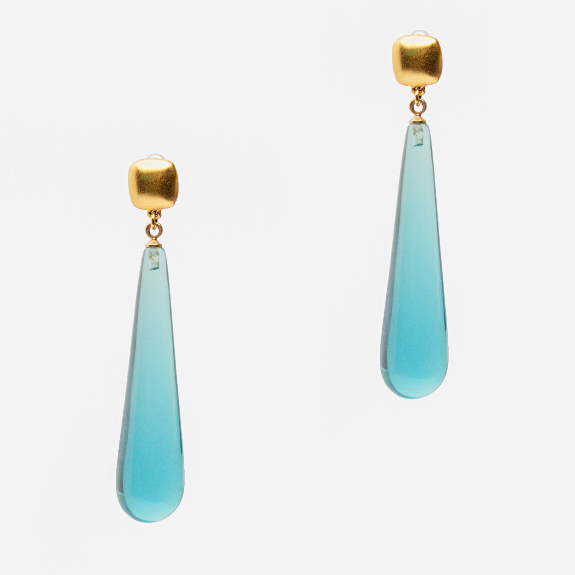 Aqua Gem Drop Earrings