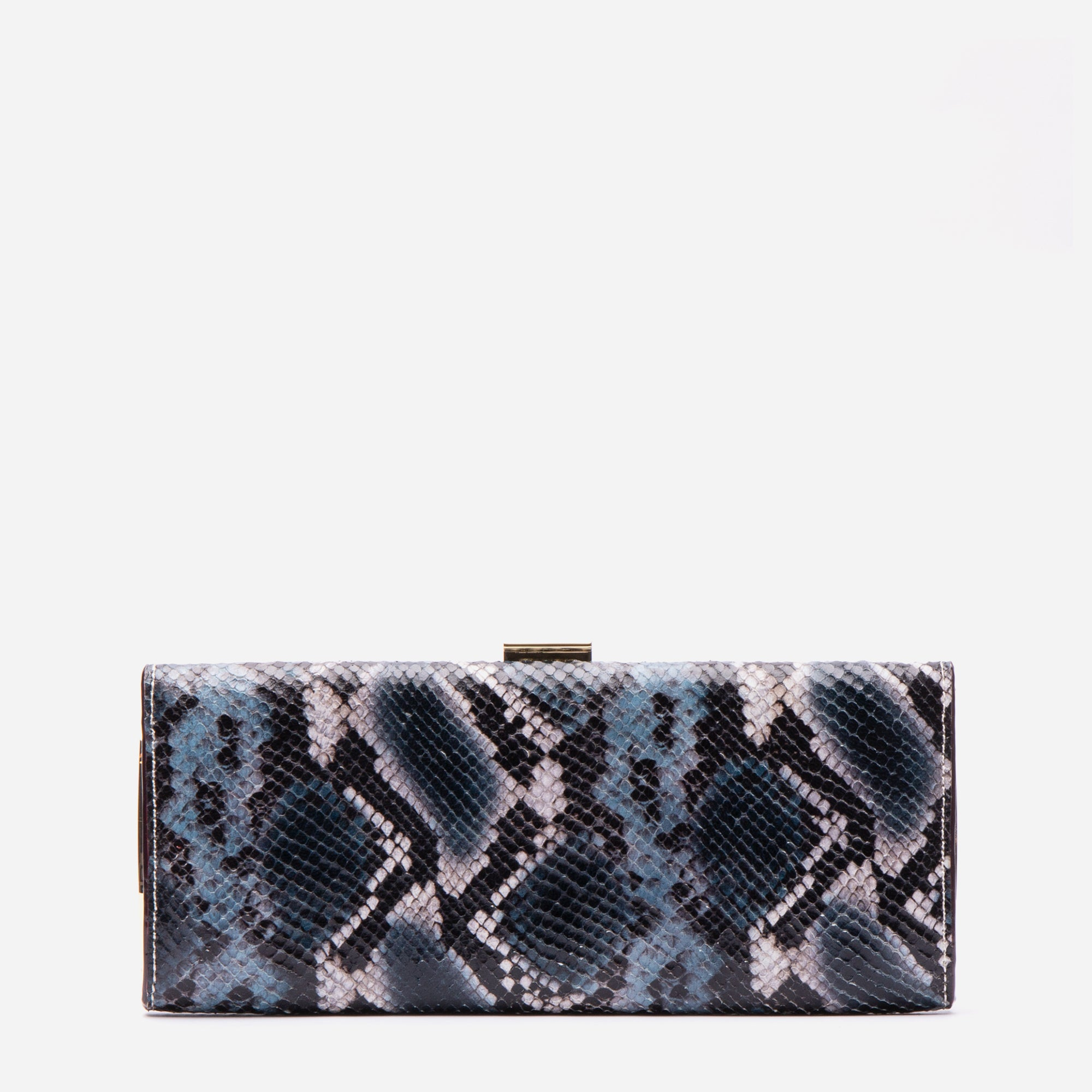 Eleni Handheld Clutch Snake Embossed Blue