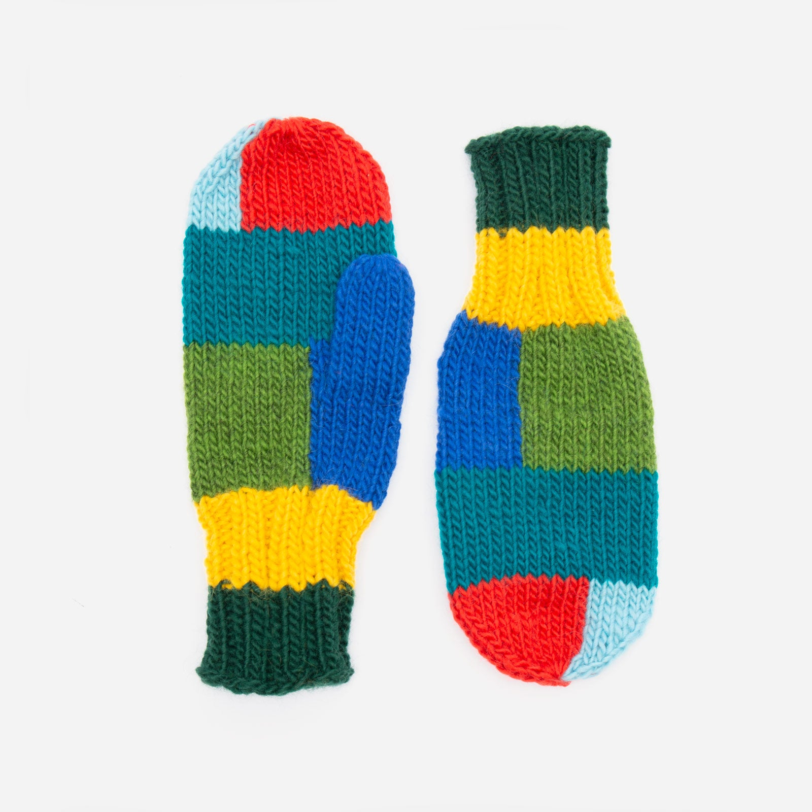 Wool Colorblock Mittens - Frances Valentine
