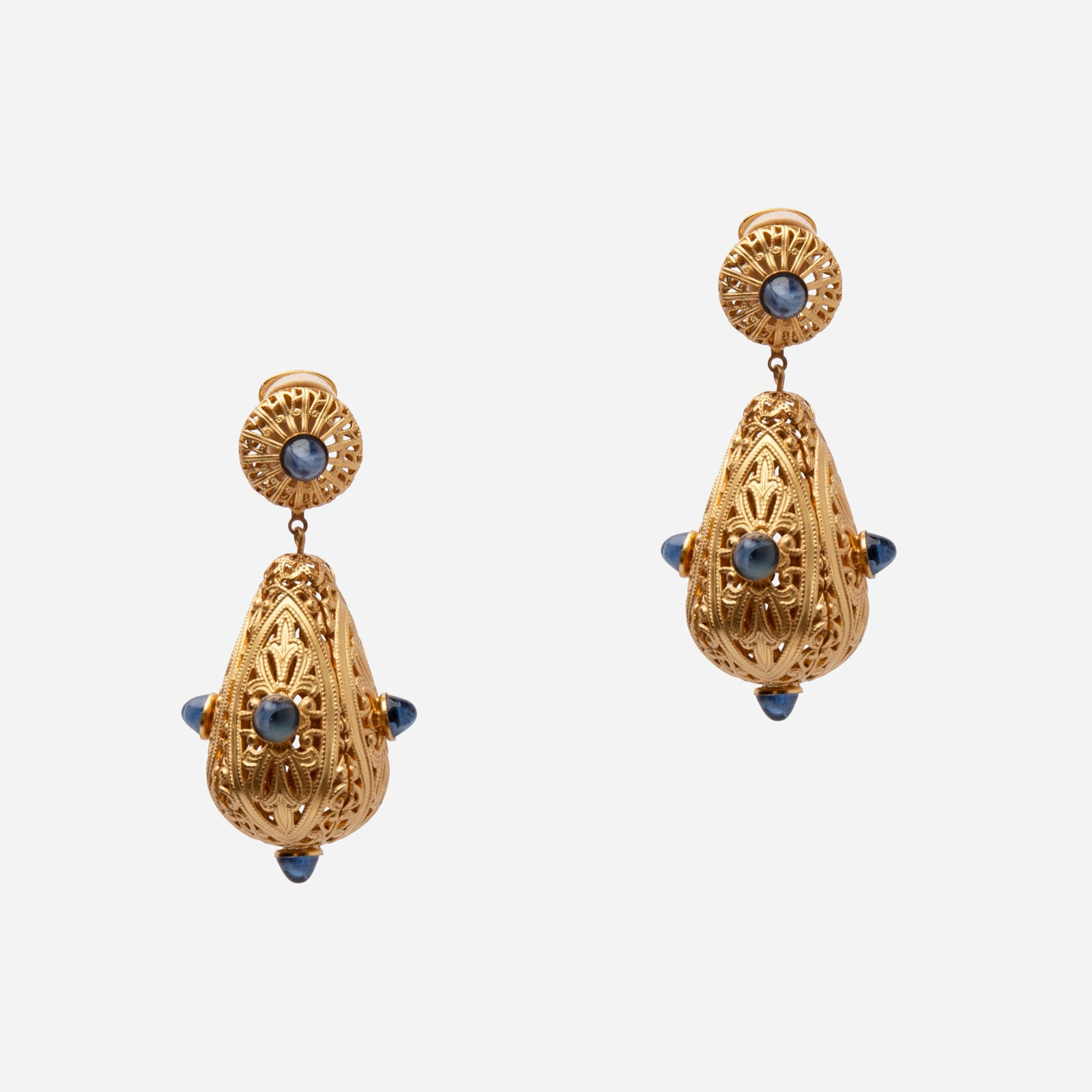 Sapphire Dome Filigree Earrings