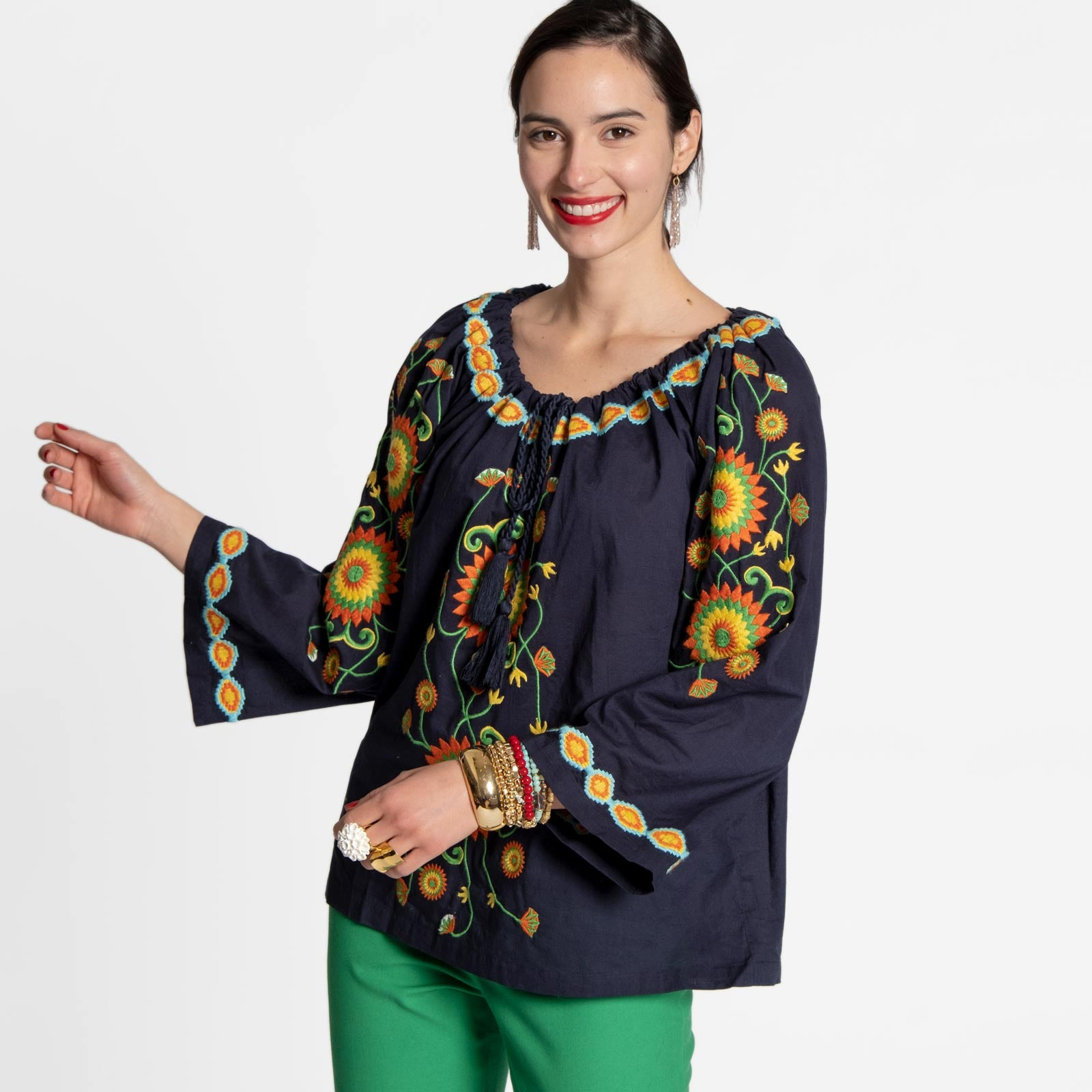 Mandala Drawstring Top Navy - Frances Valentine