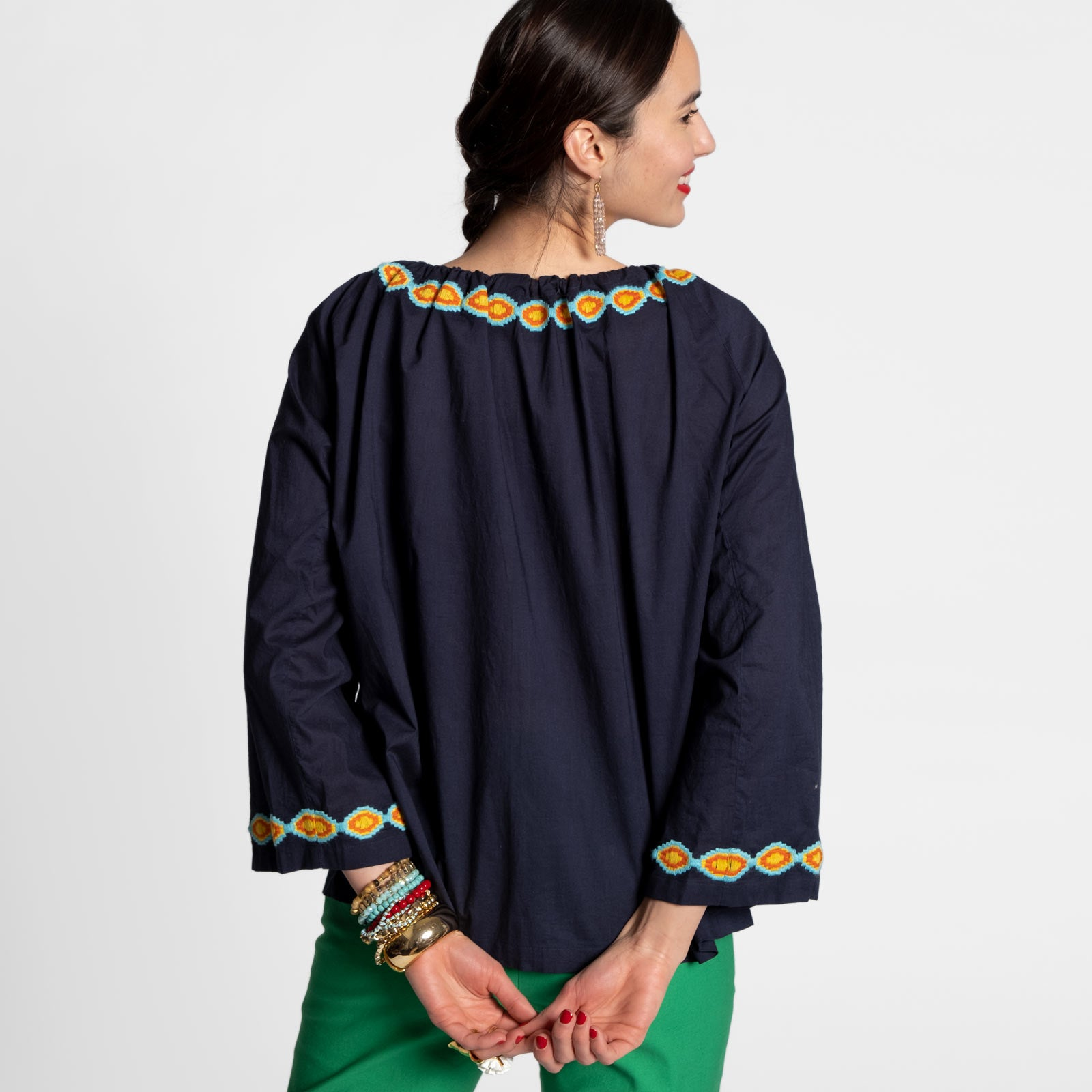 Mandala Drawstring Top Navy