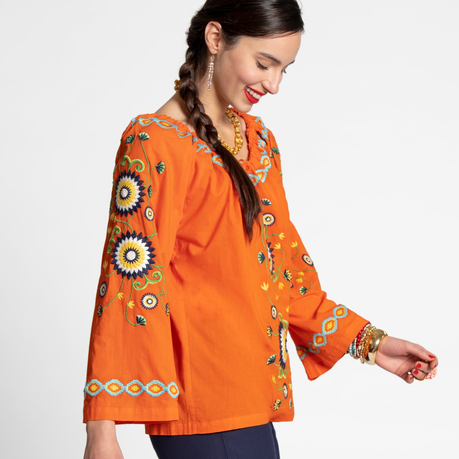 Mandala Drawstring Top Orange
