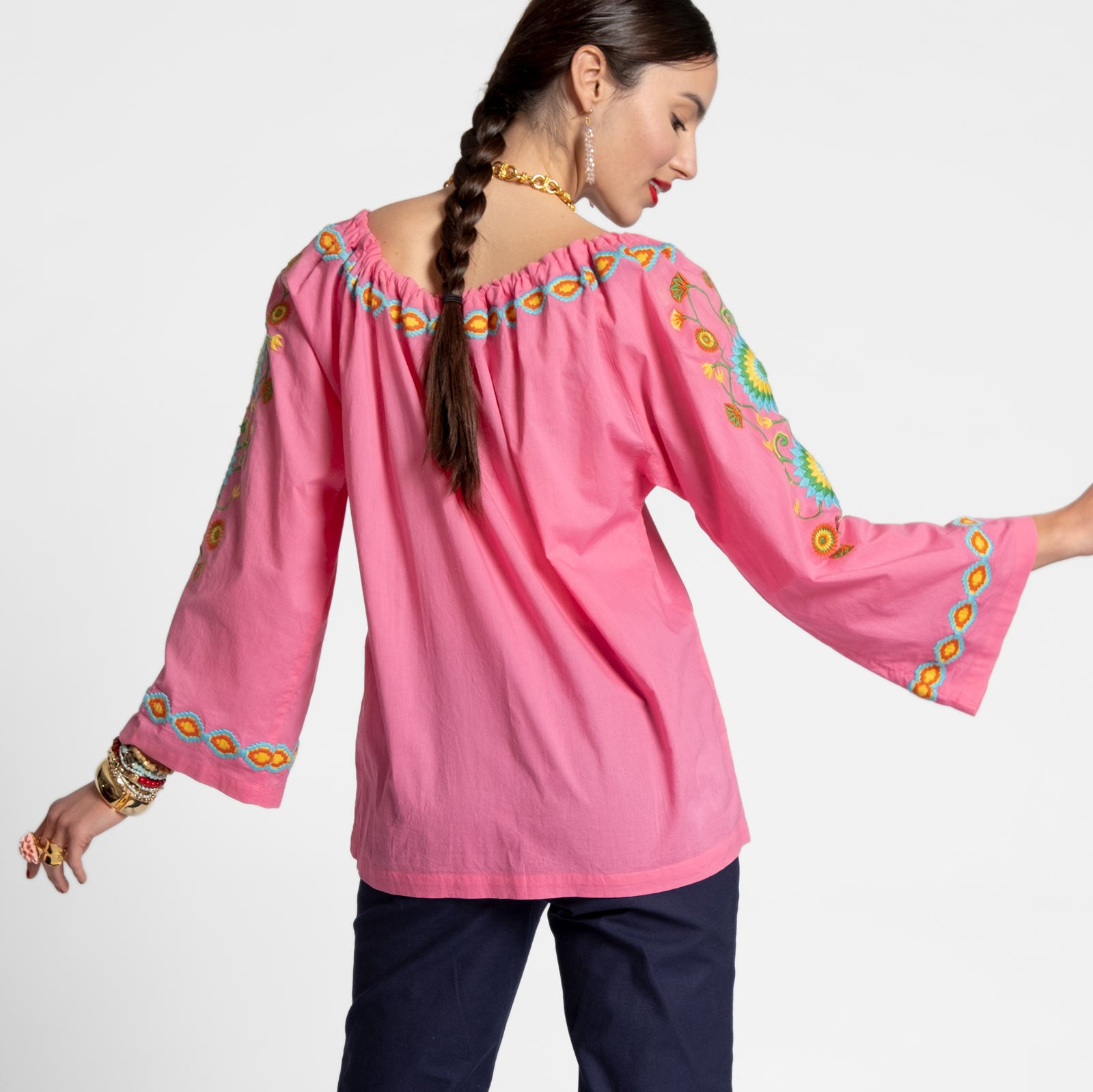 Mandala Drawstring Top Pink