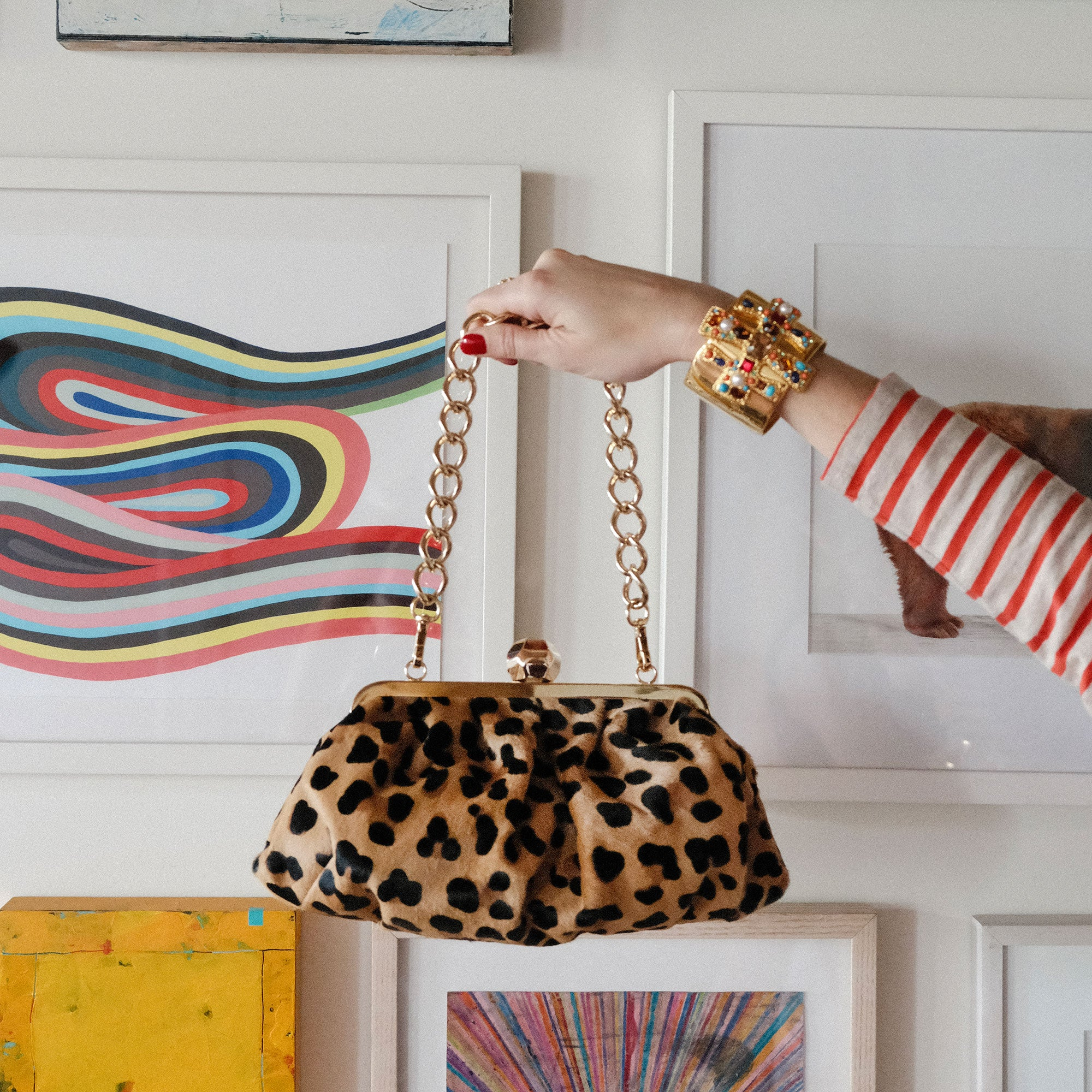 Zelda Frame Bag Leopard Printed Haircalf