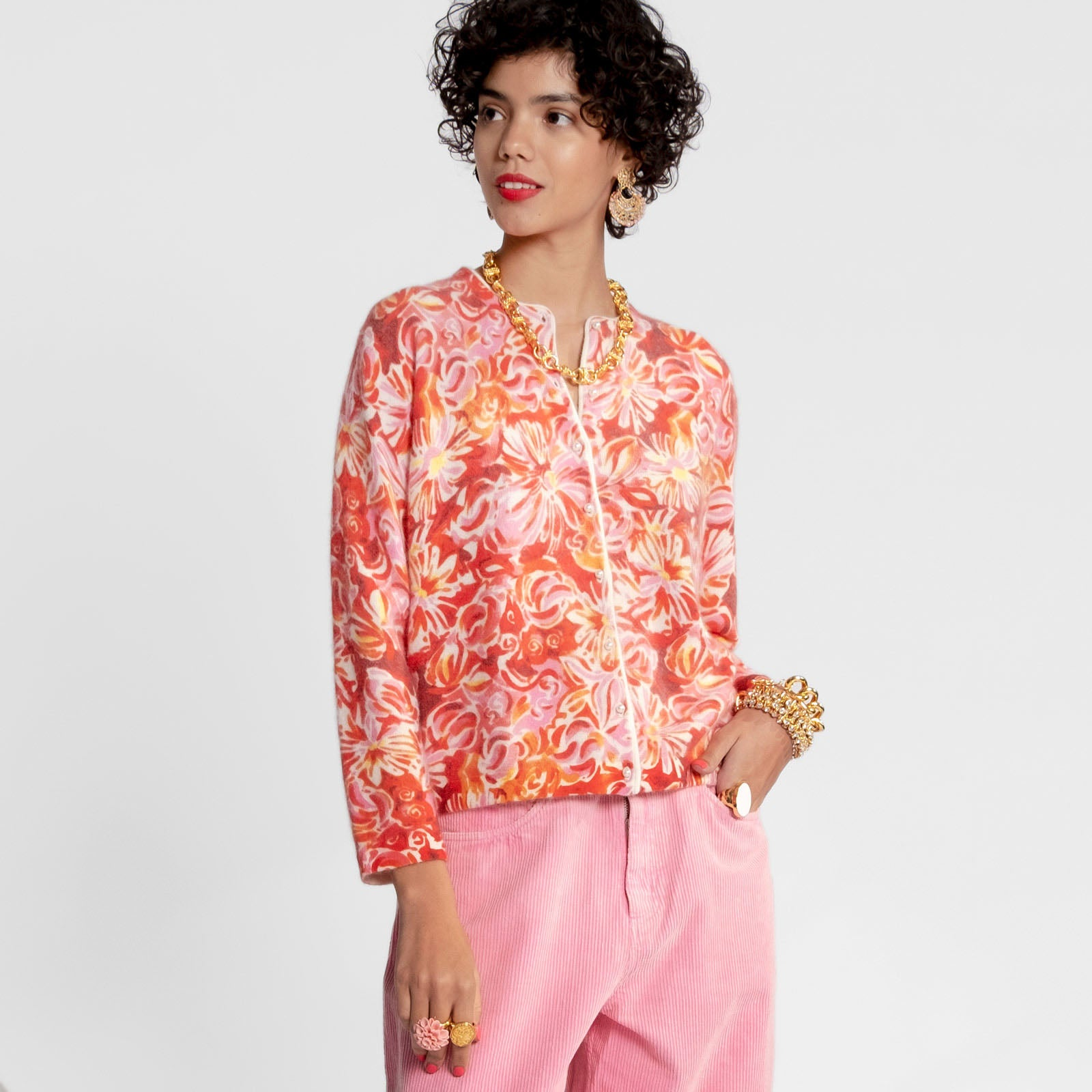 Darling Cardigan Wild Flower Burst Pink
