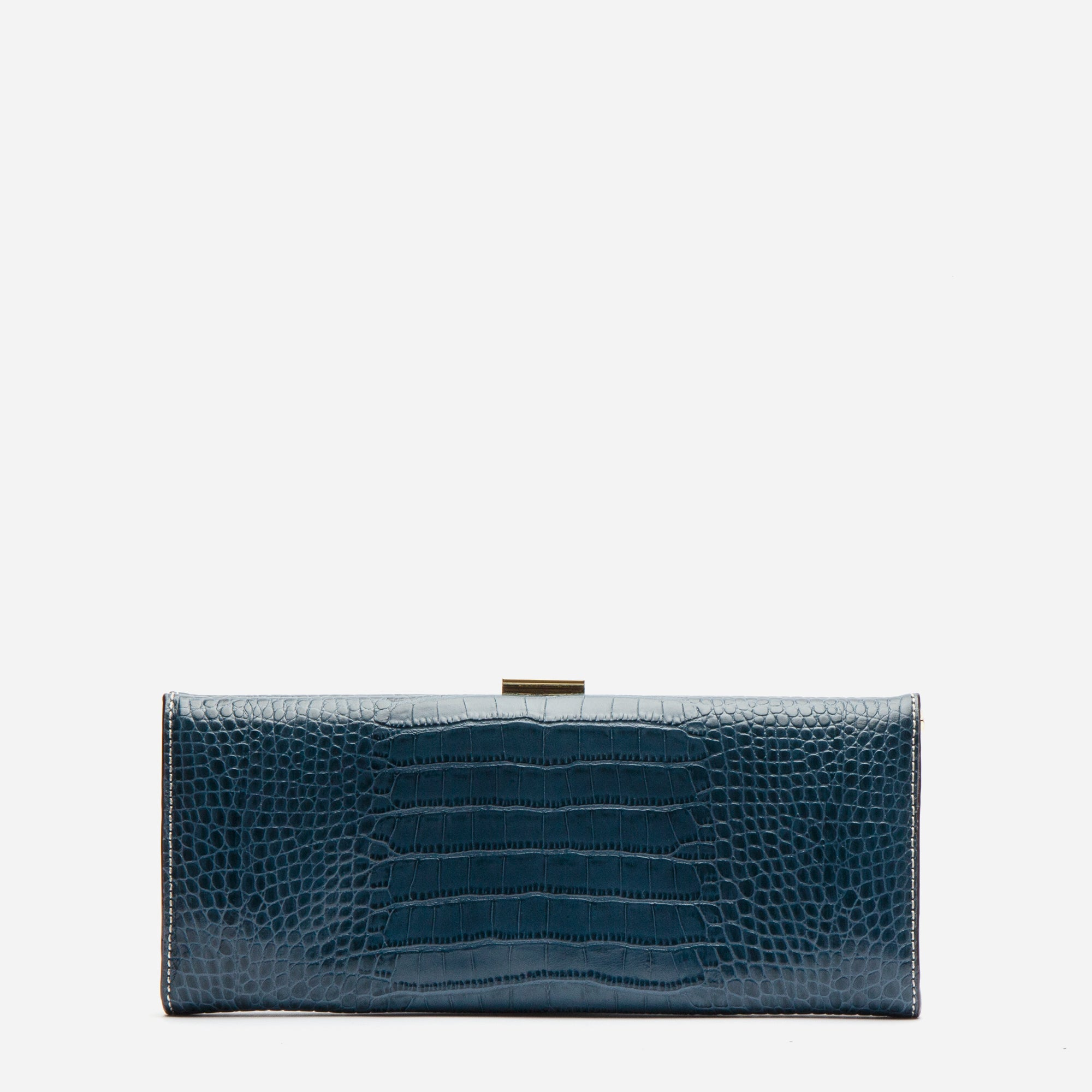 Eleni Handheld Clutch Croc Embossed Blue