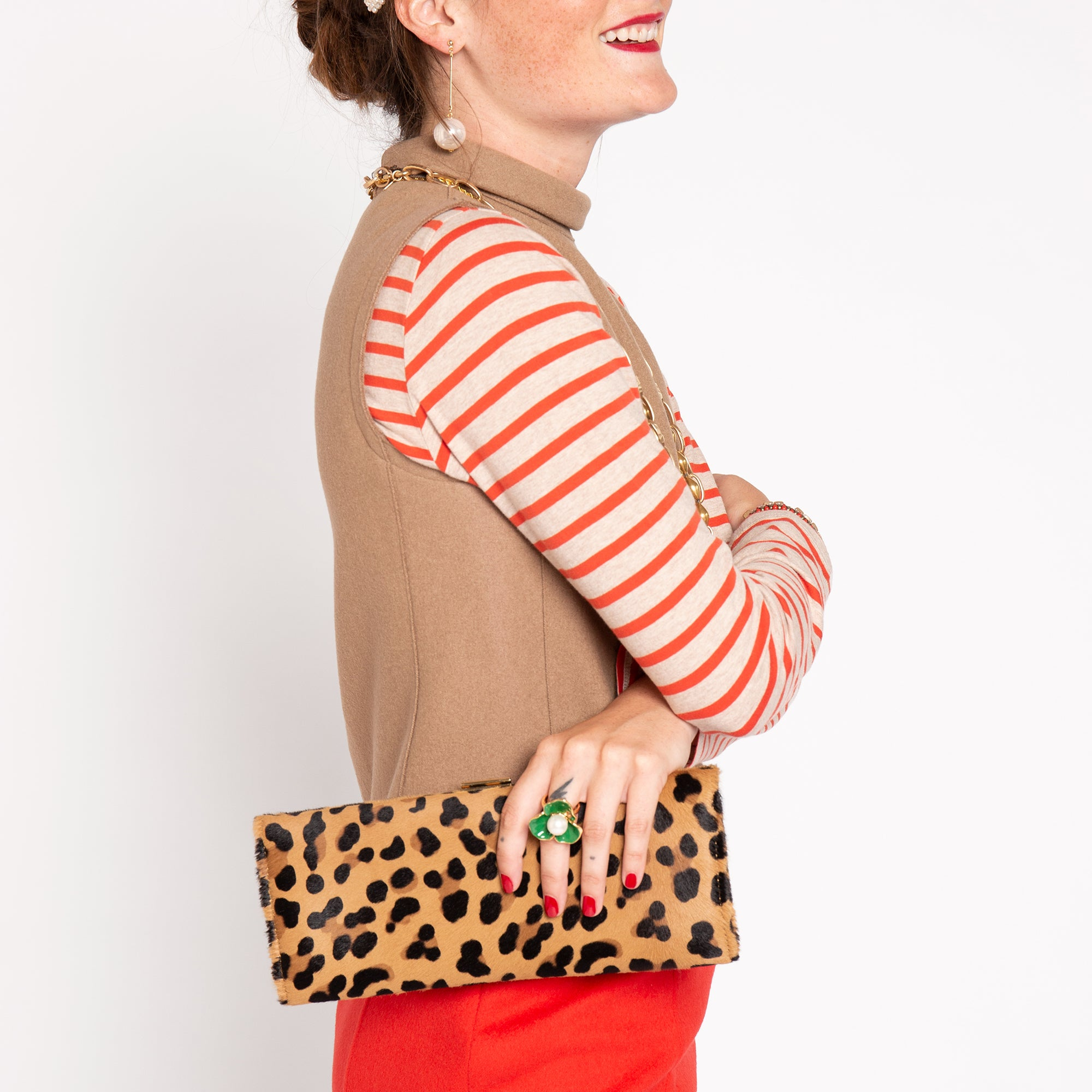 Eleni Handheld Clutch Leopard Printed Haircalf