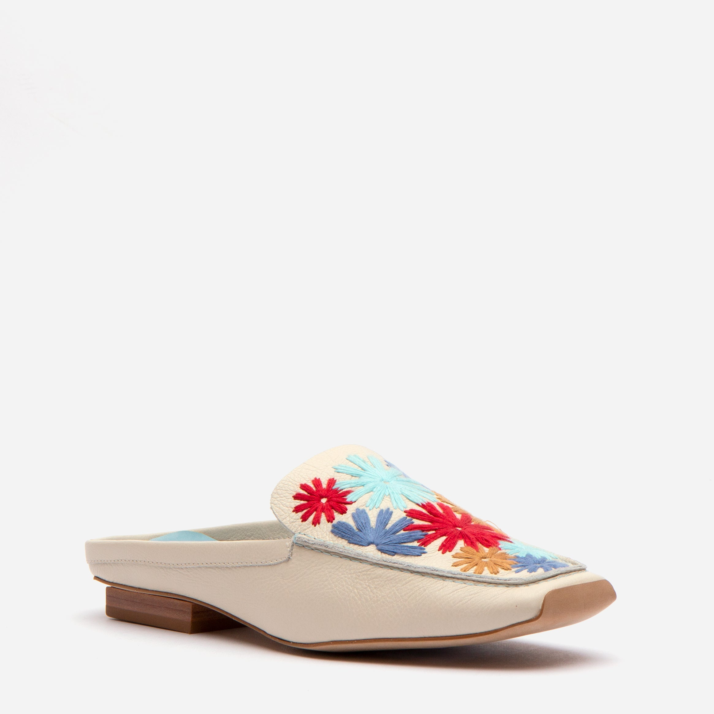 Elyce Mules Floral Embroidery Oyster