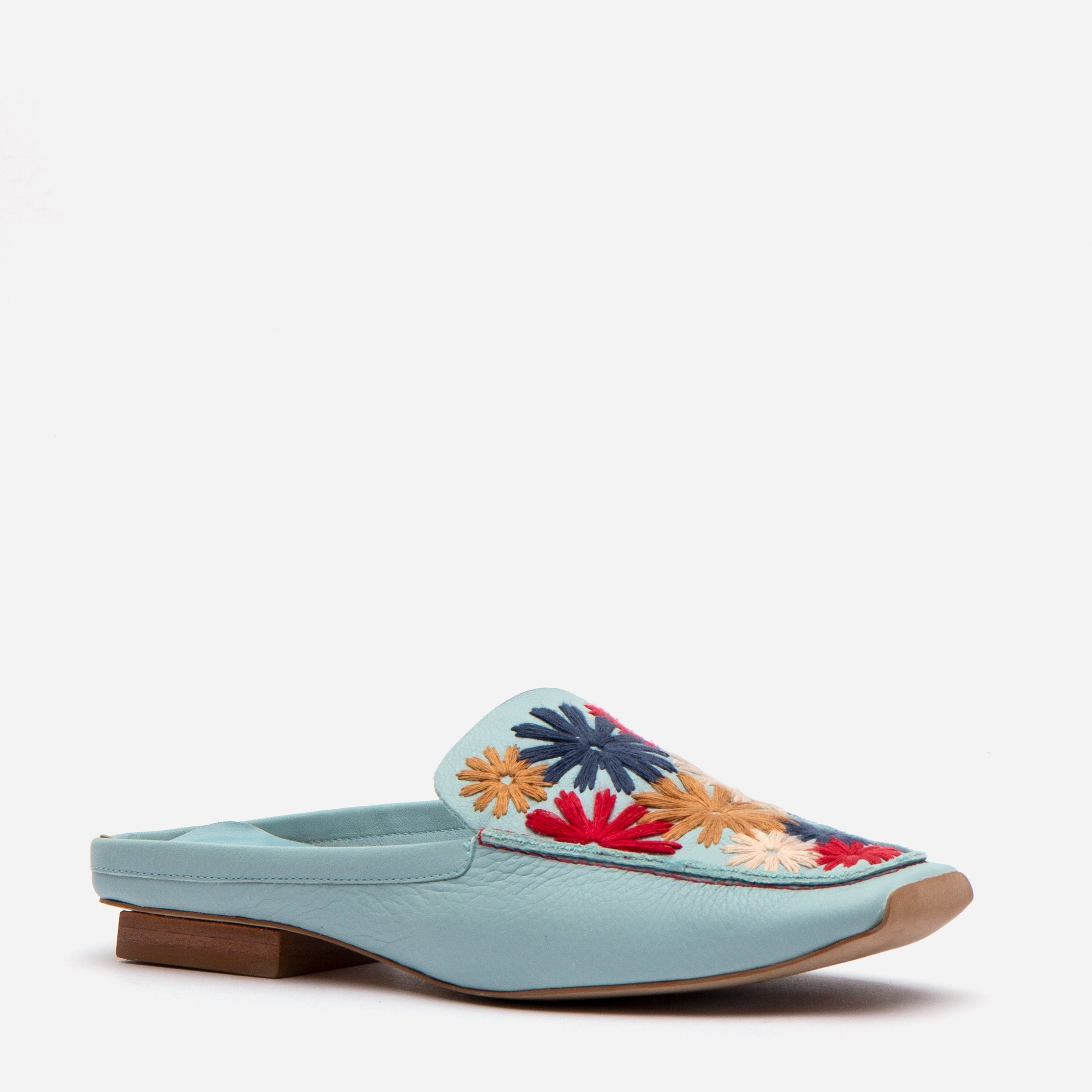 Elyce Mules Floral Embroidery Light Blue
