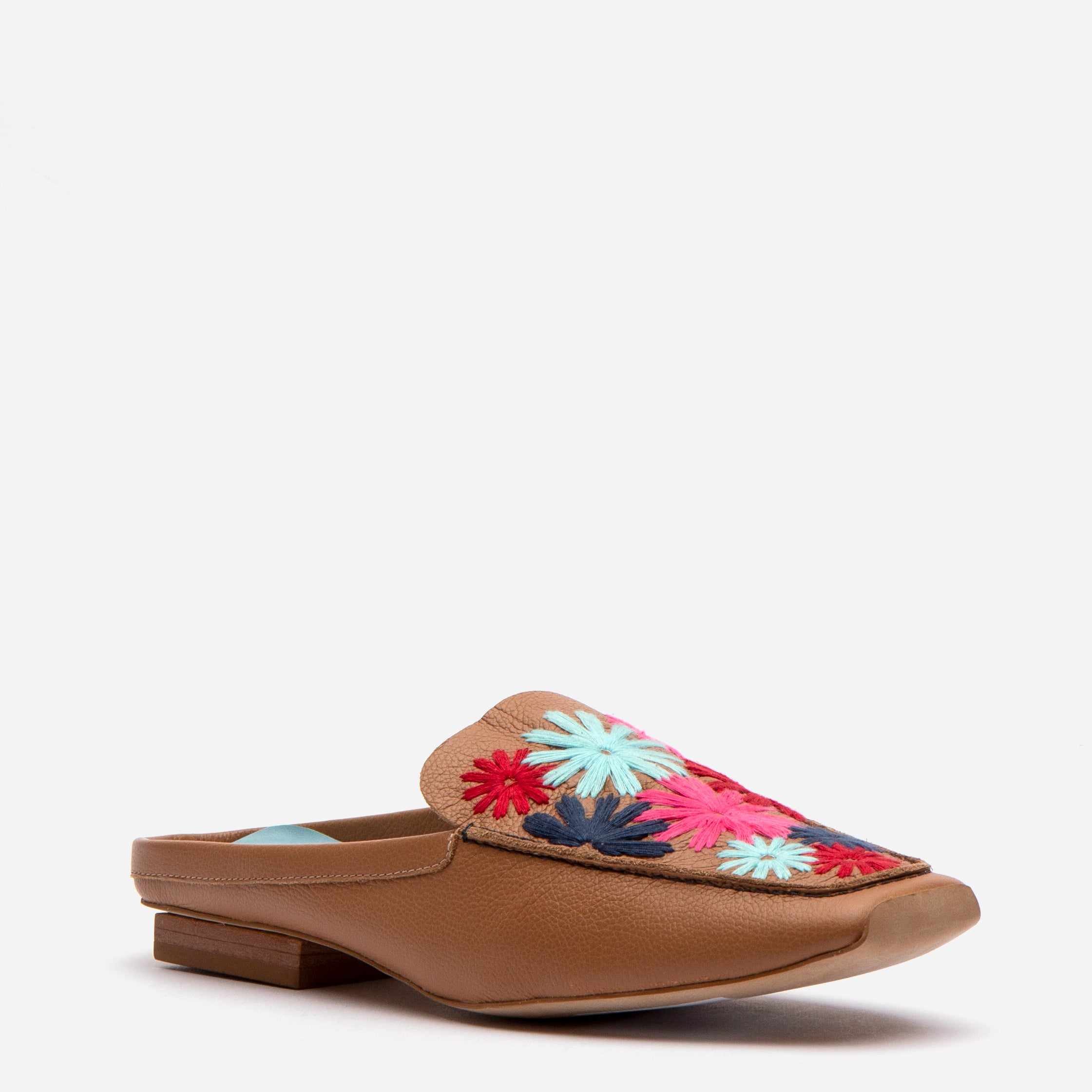Elyce Mules Floral Embroidery Light Camel