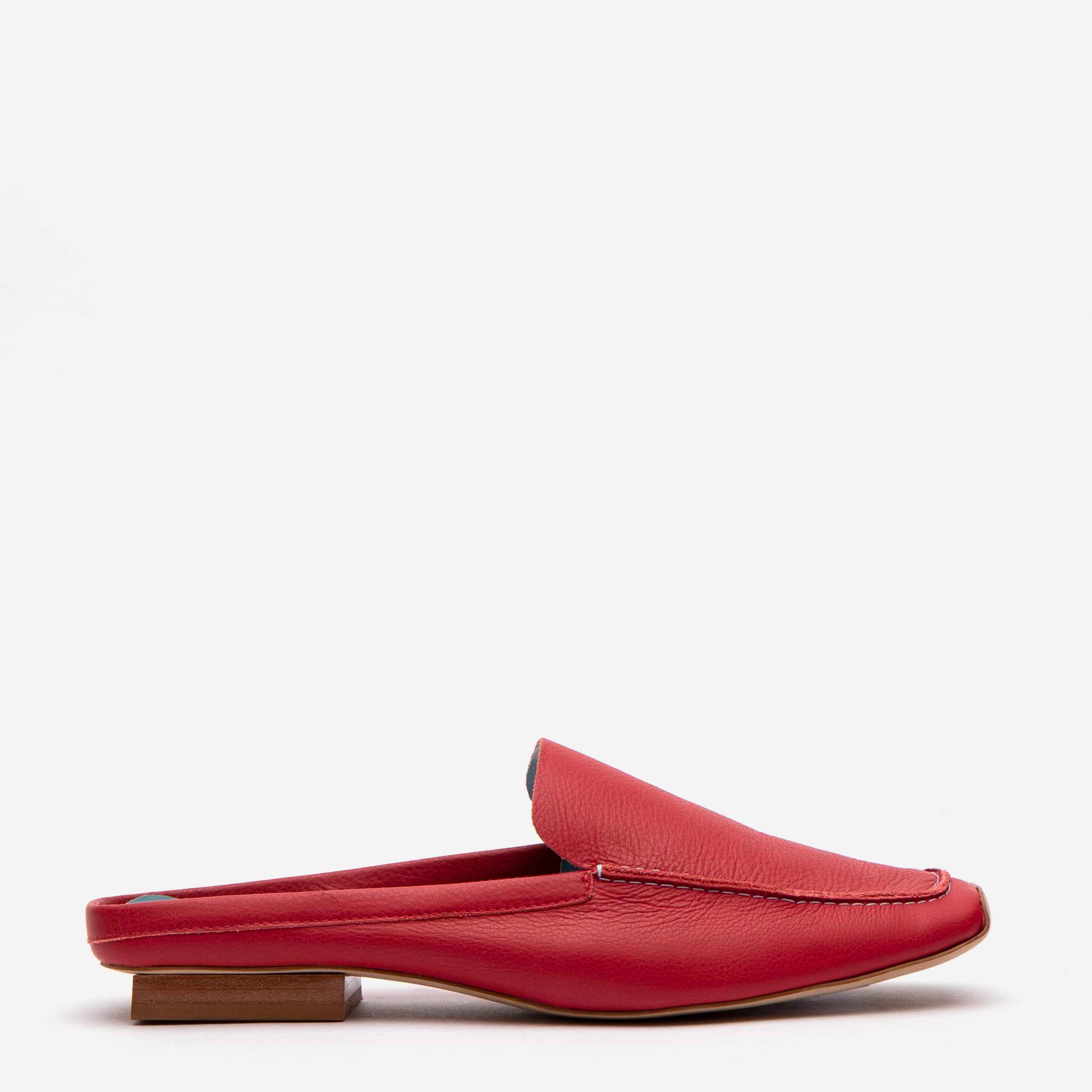 Elyce Mule Tumbled Leather Red - Frances Valentine