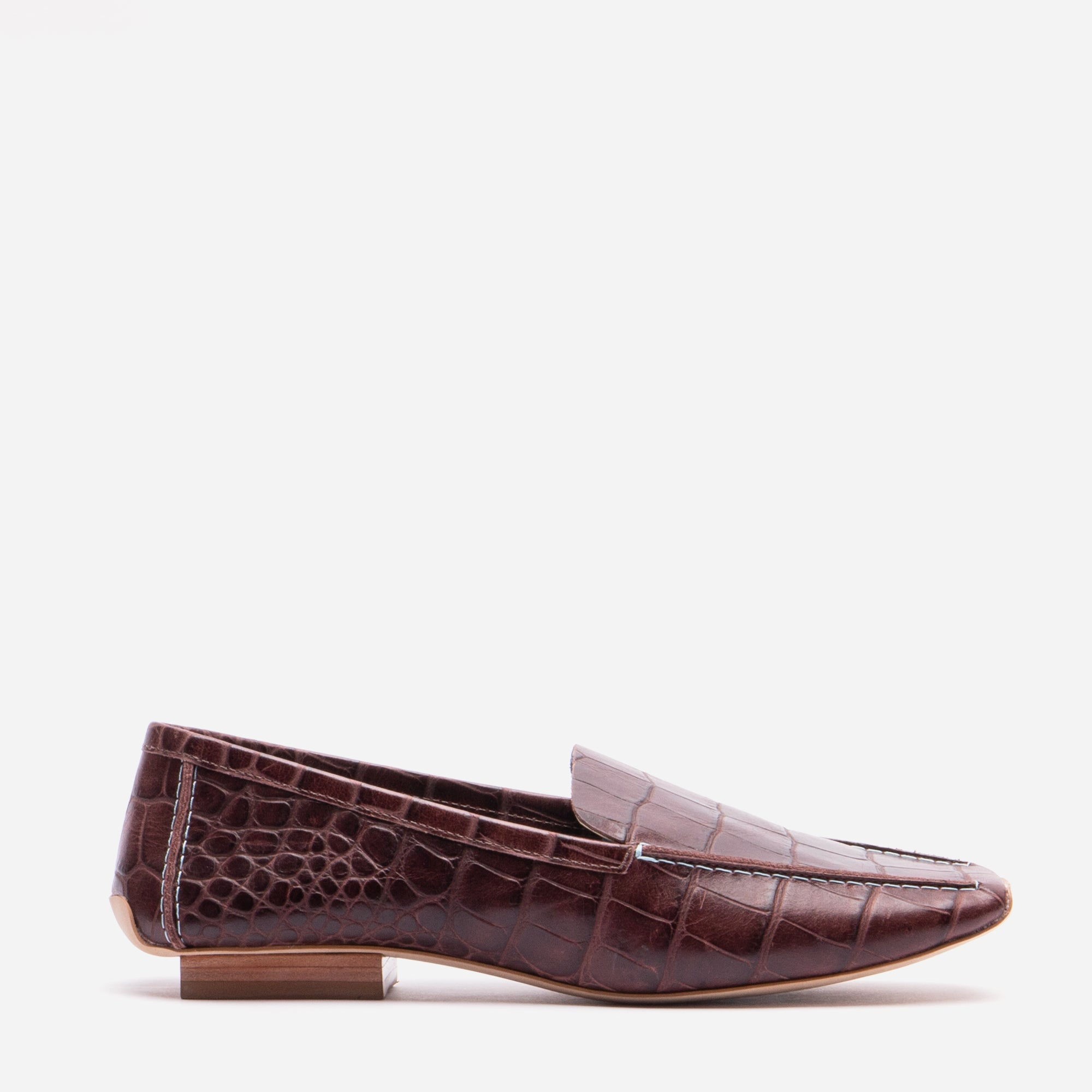 Elyce Loafer Croc Embossed Chocolate - Frances Valentine