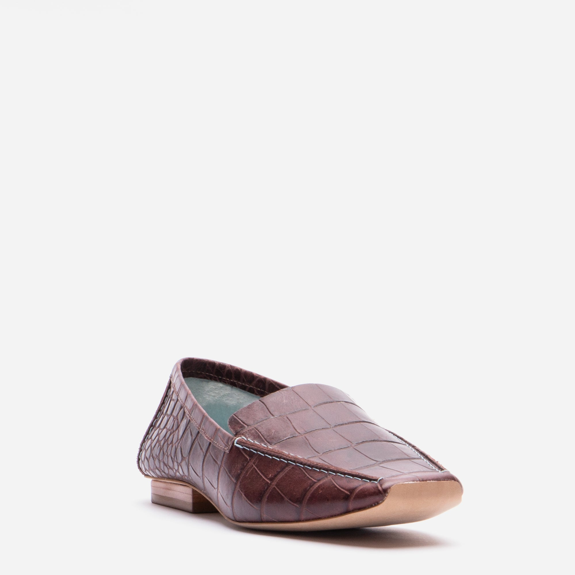 Elyce Loafers Croc Embossed Chocolate