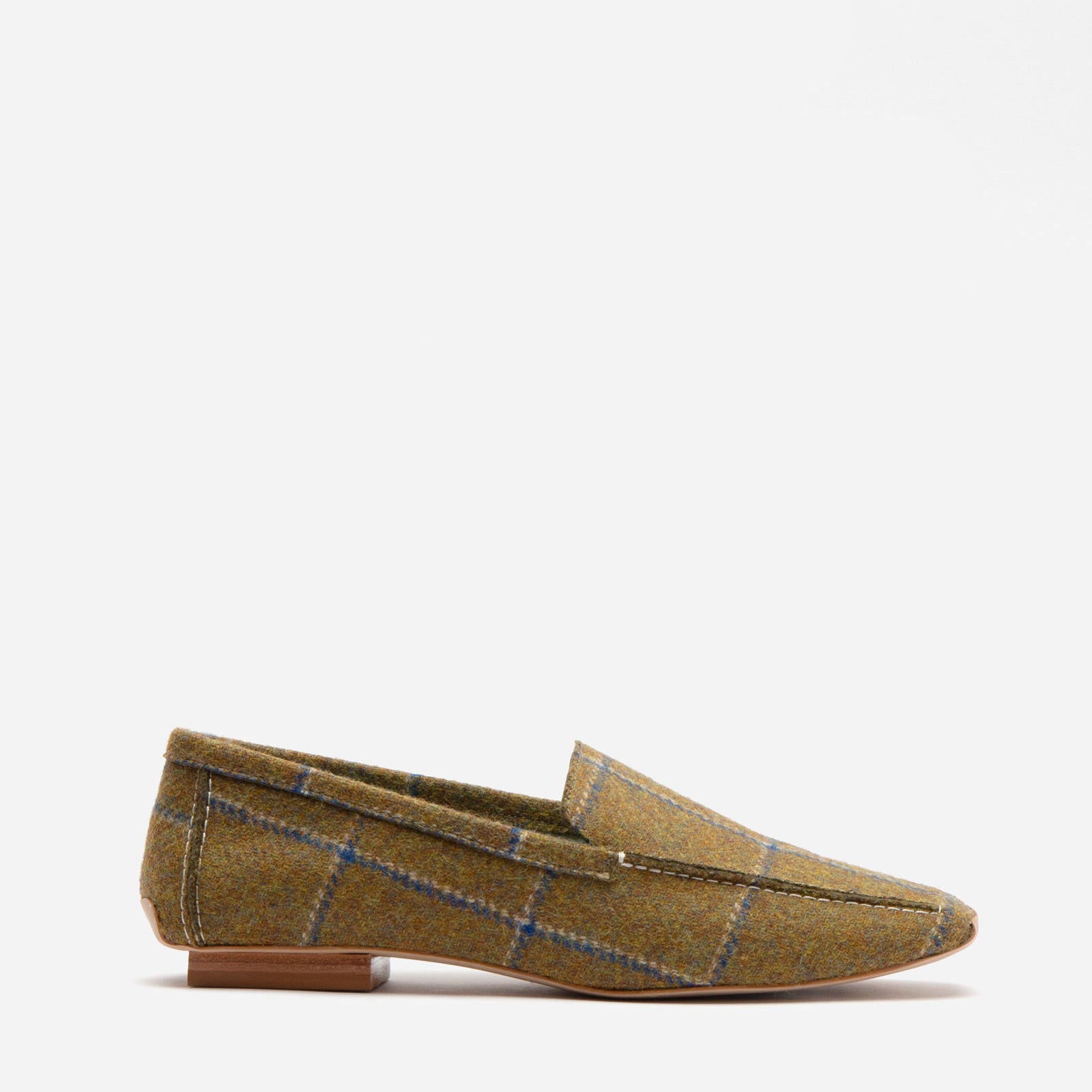 Elyce Loafer Wool Plaid Olive Navy - Frances Valentine