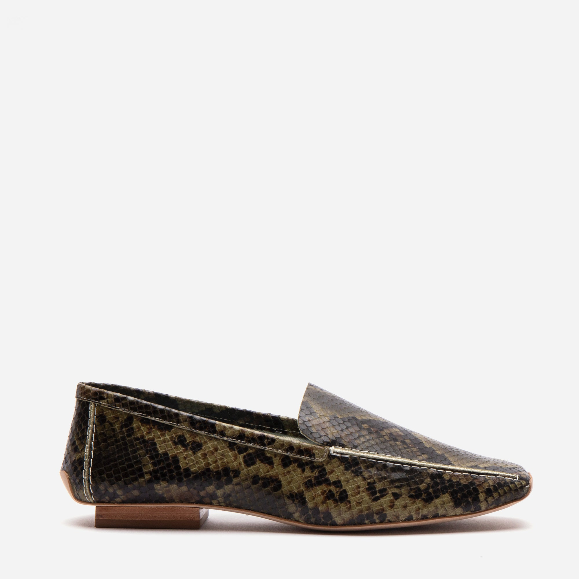 Elyce Loafers Printed Snake Olive