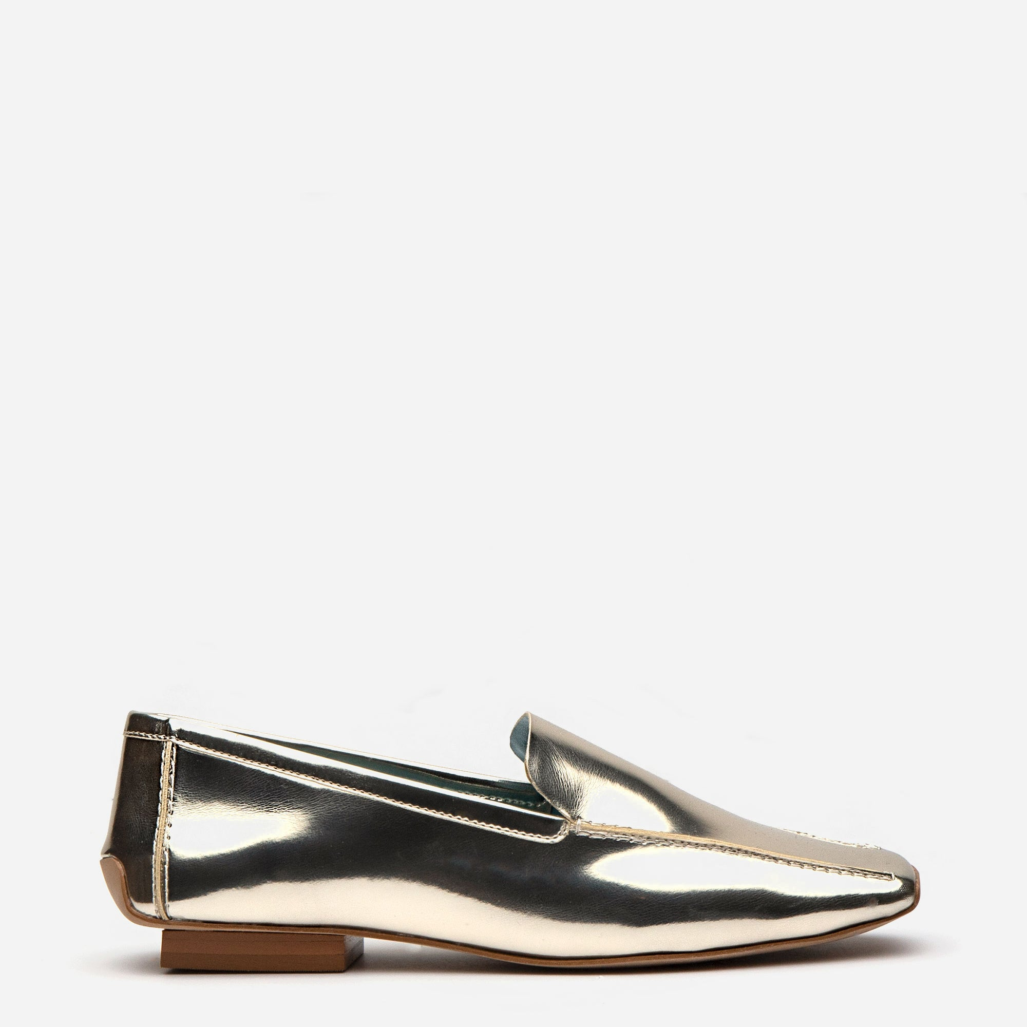 Elyce Loafer Metallic Vegan Platino *FINAL SALE* - Frances Valentine