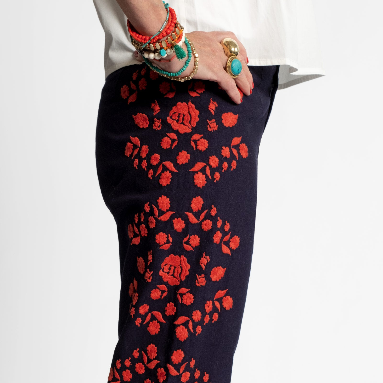 Floral Embroidered Pant Navy Red