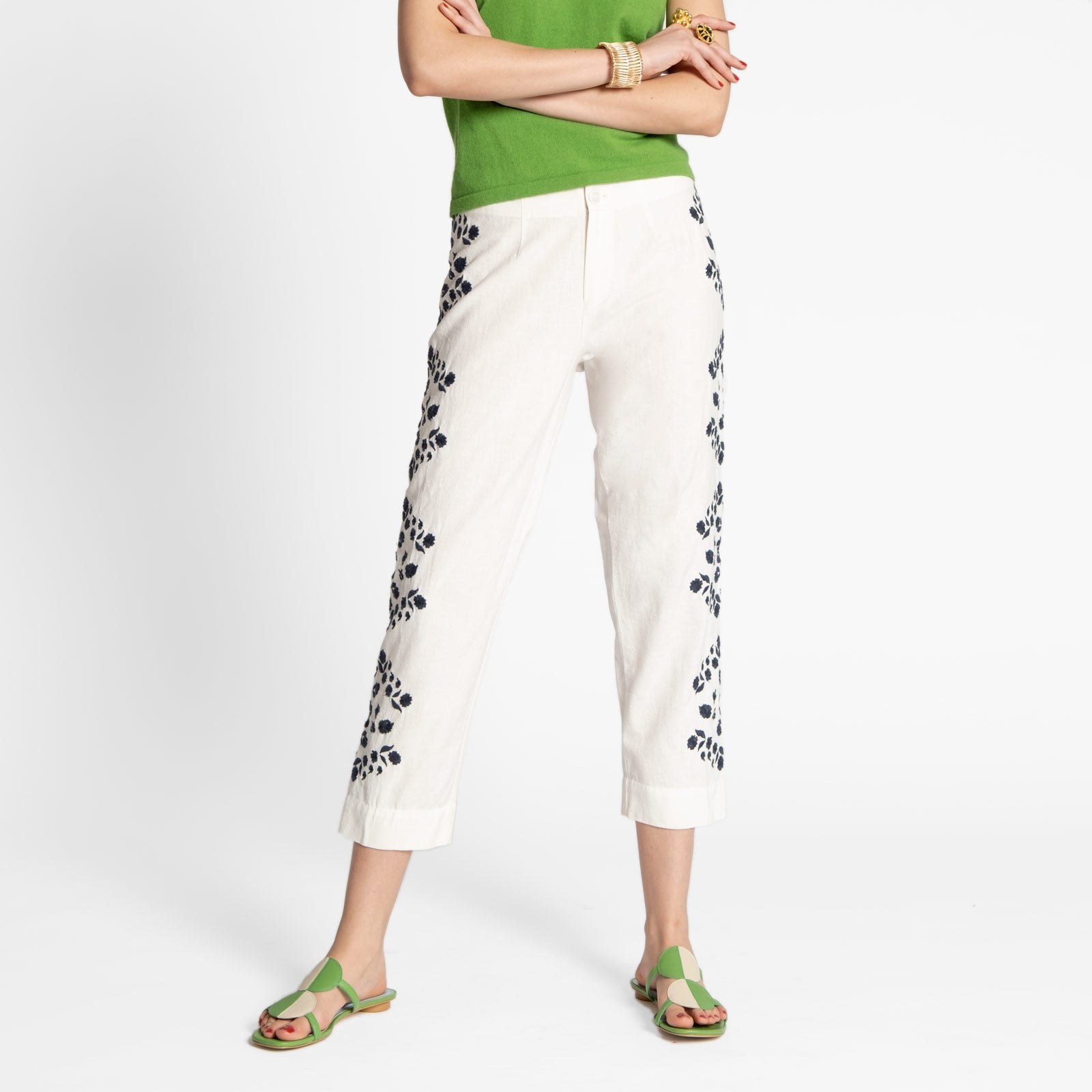 Floral Embroidered Pant Oyster Navy