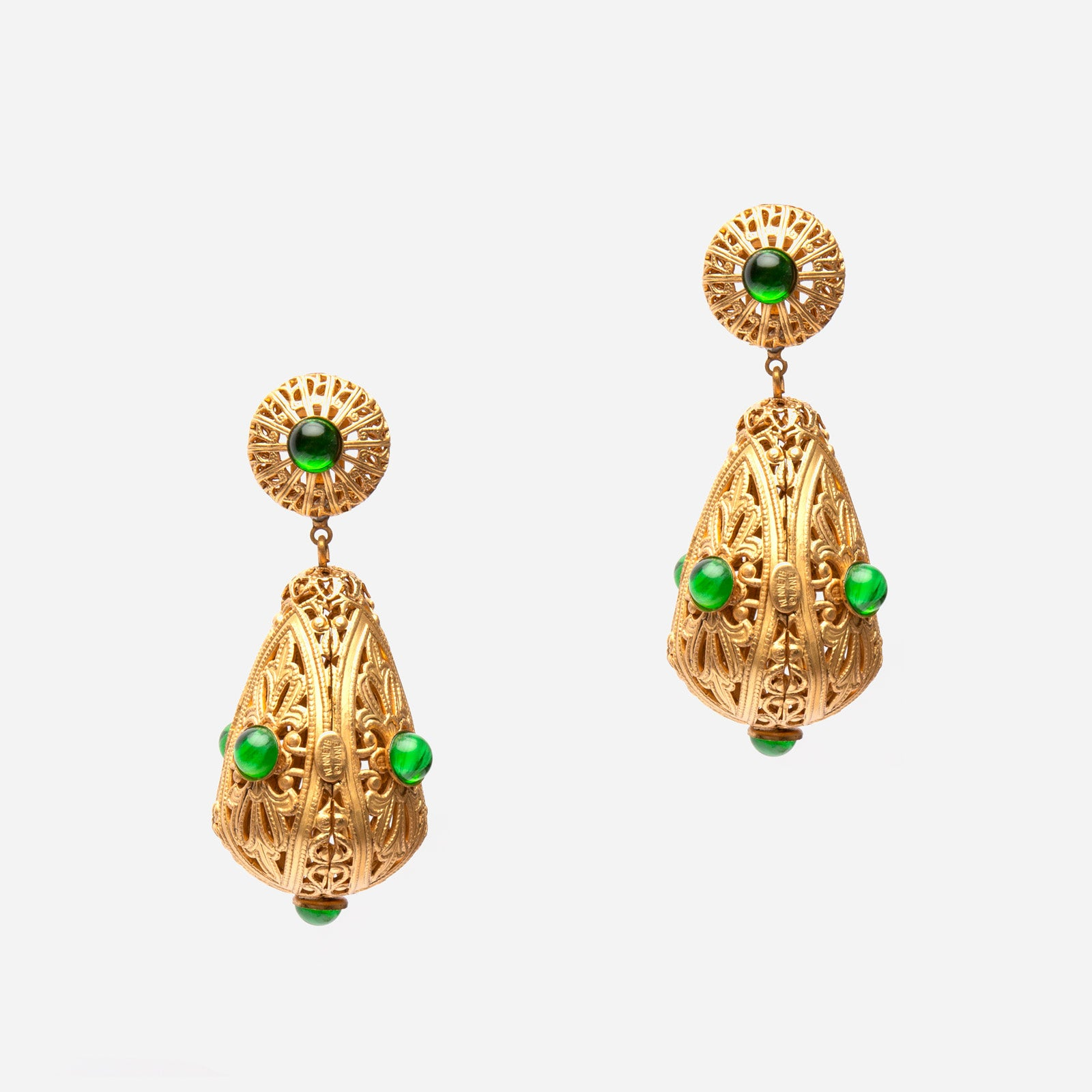 Emerald Dome Filigree Earrings - Frances Valentine