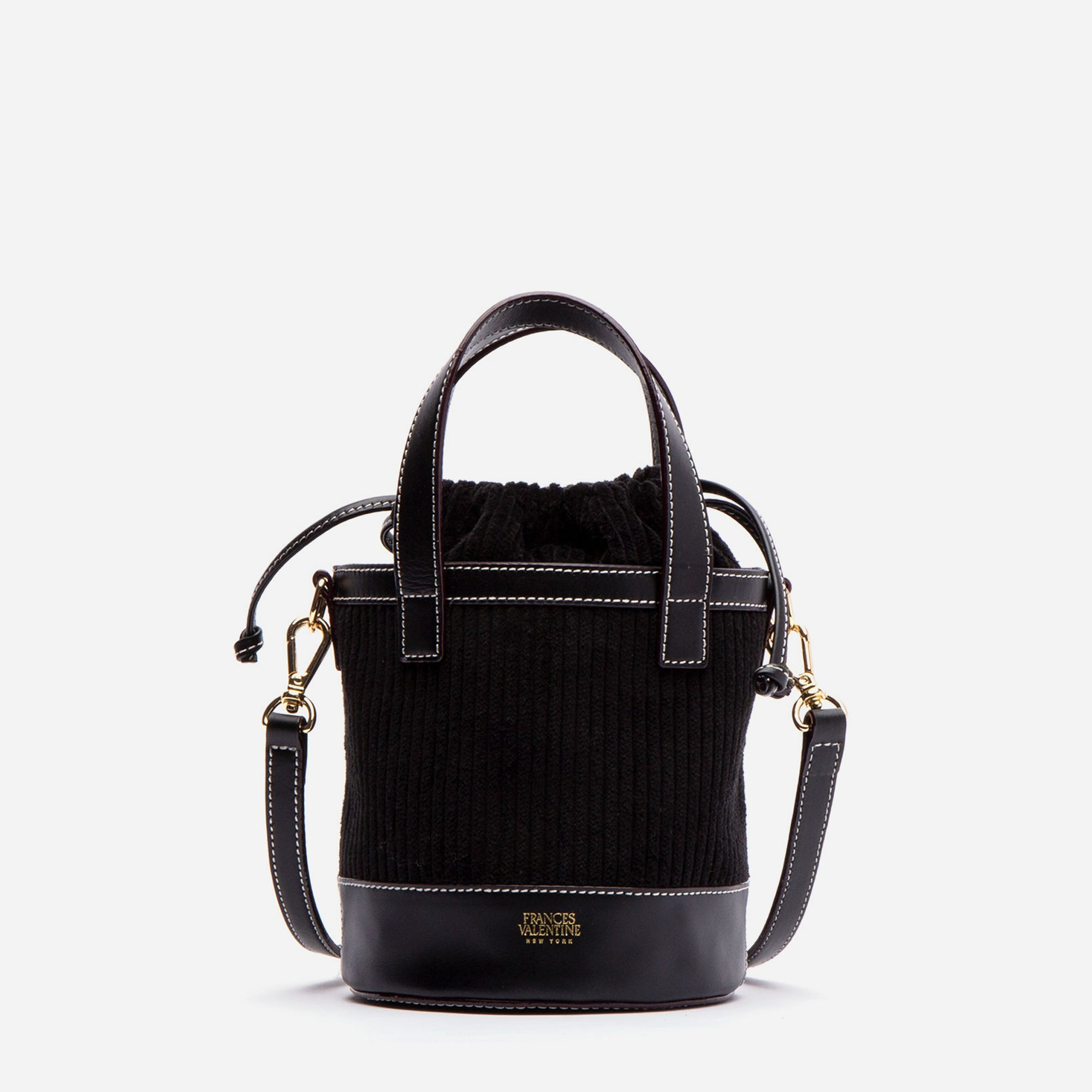 Small Corduroy Bucket Bag Black - Frances Valentine