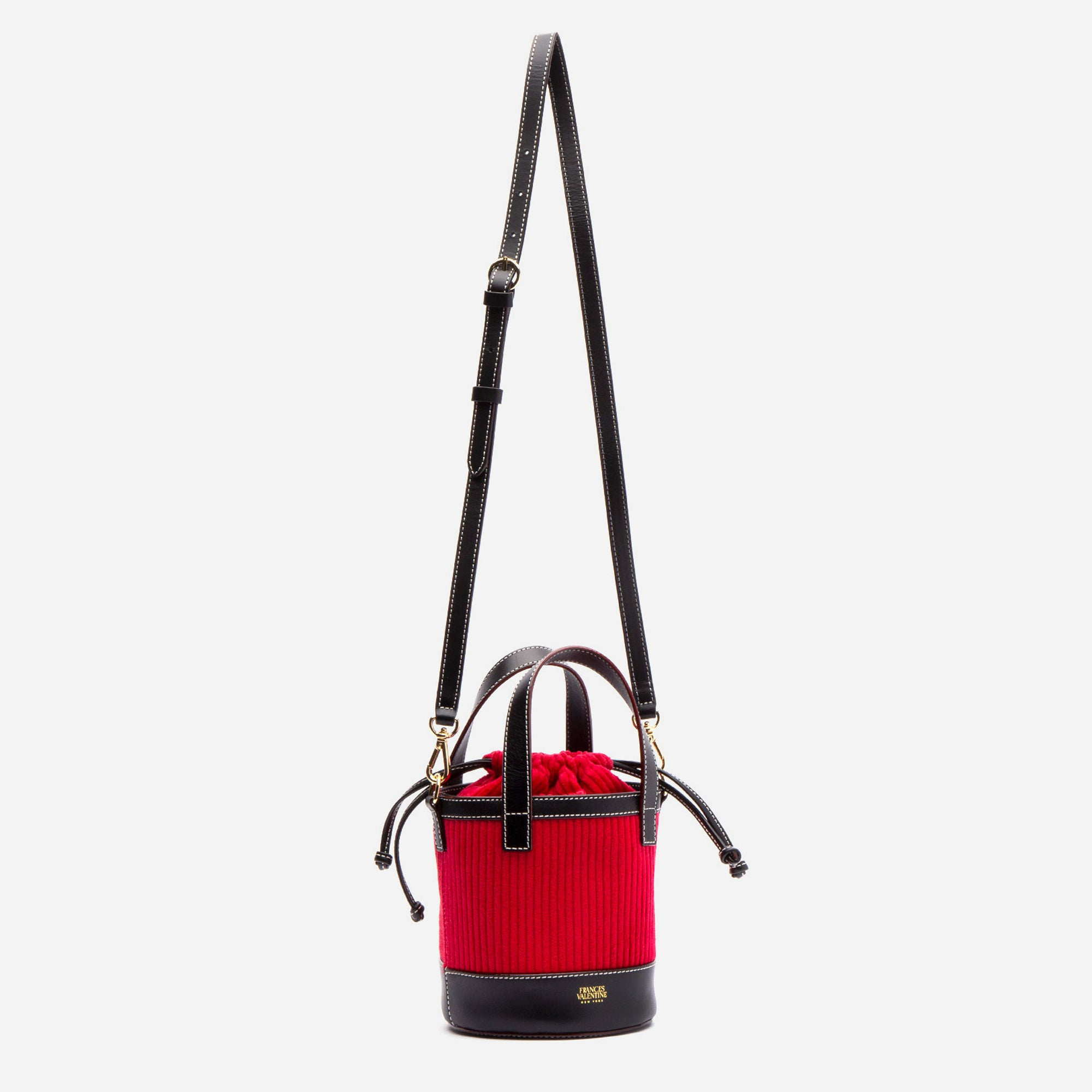 Small Corduroy Bucket Bag Red