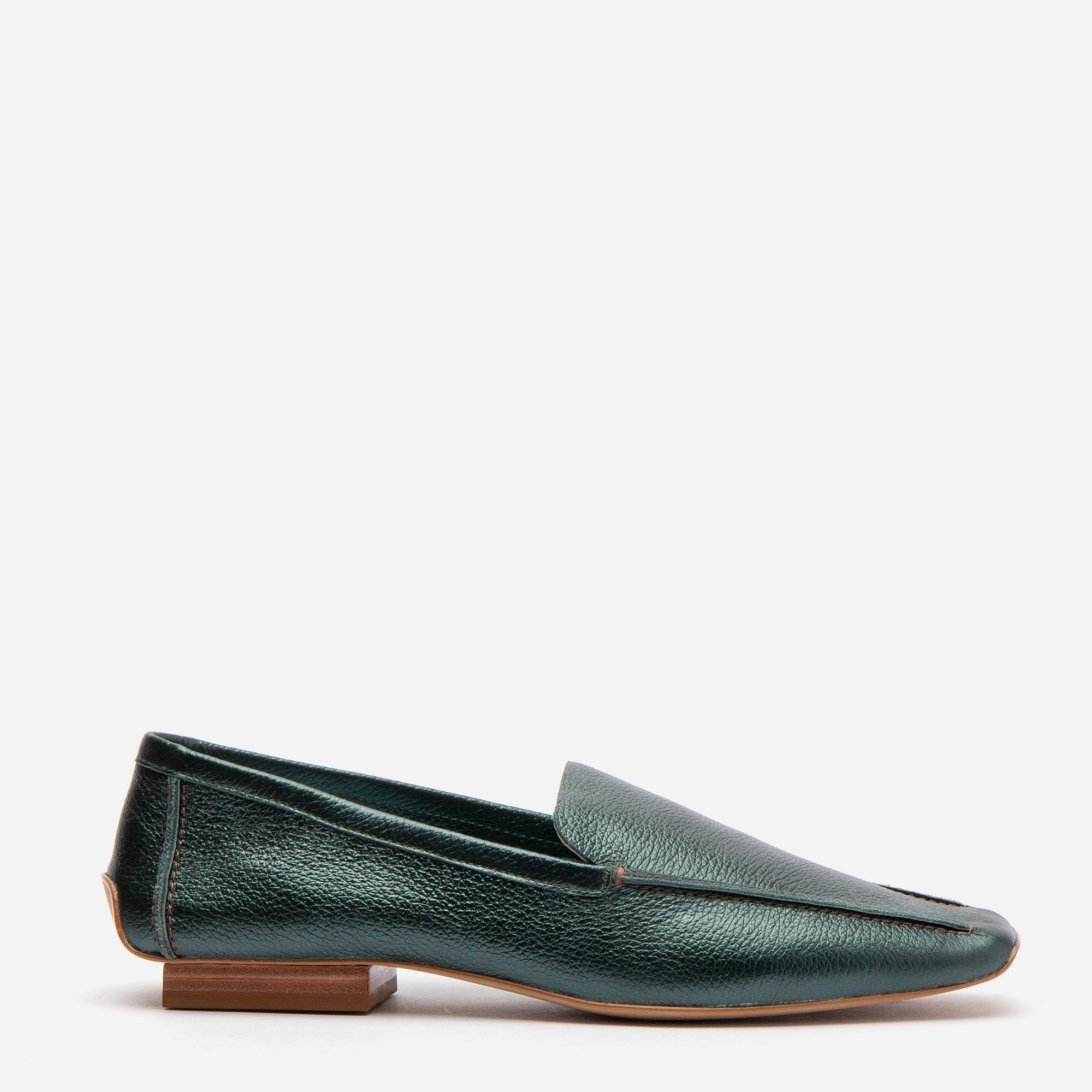 Elyce Loafers Tumbled Leather Bottle Green