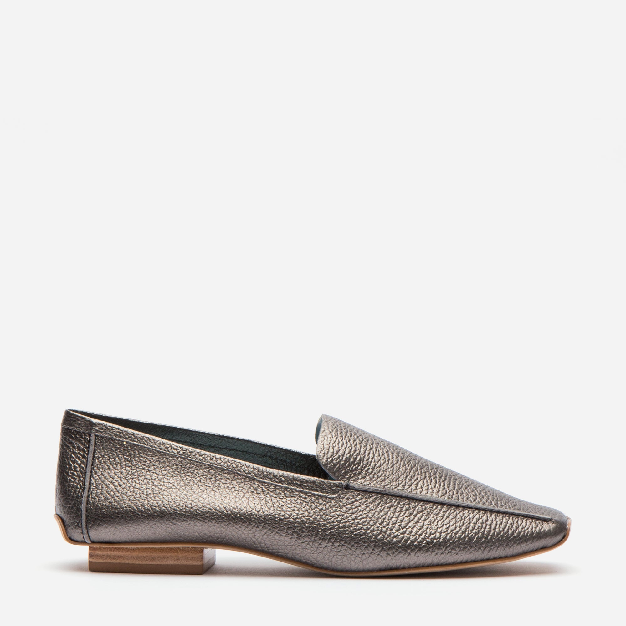 Elyce Loafer Tumbled Leather Pewter - Frances Valentine