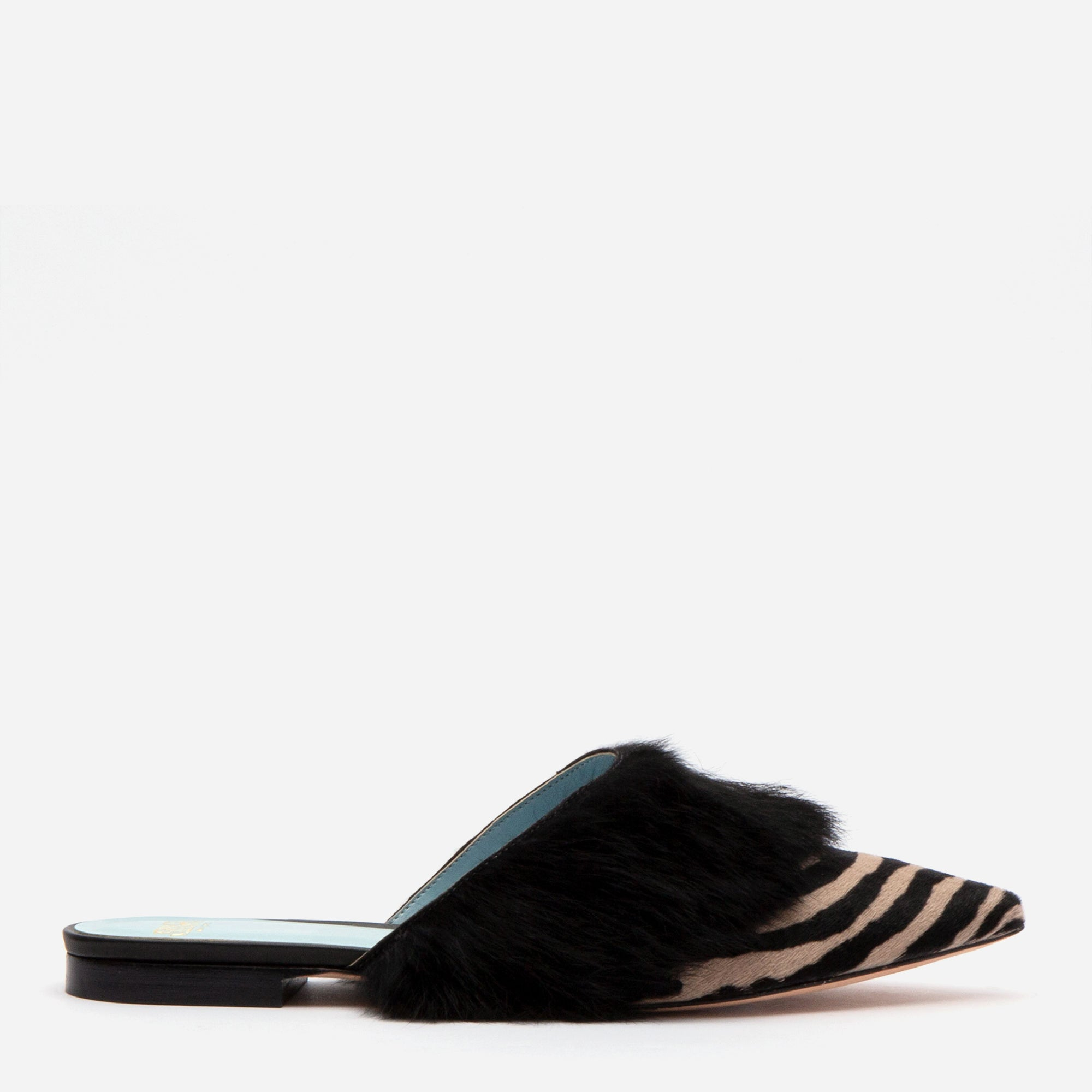 Paloma Haircalf Fur Cuff Mule Zebra