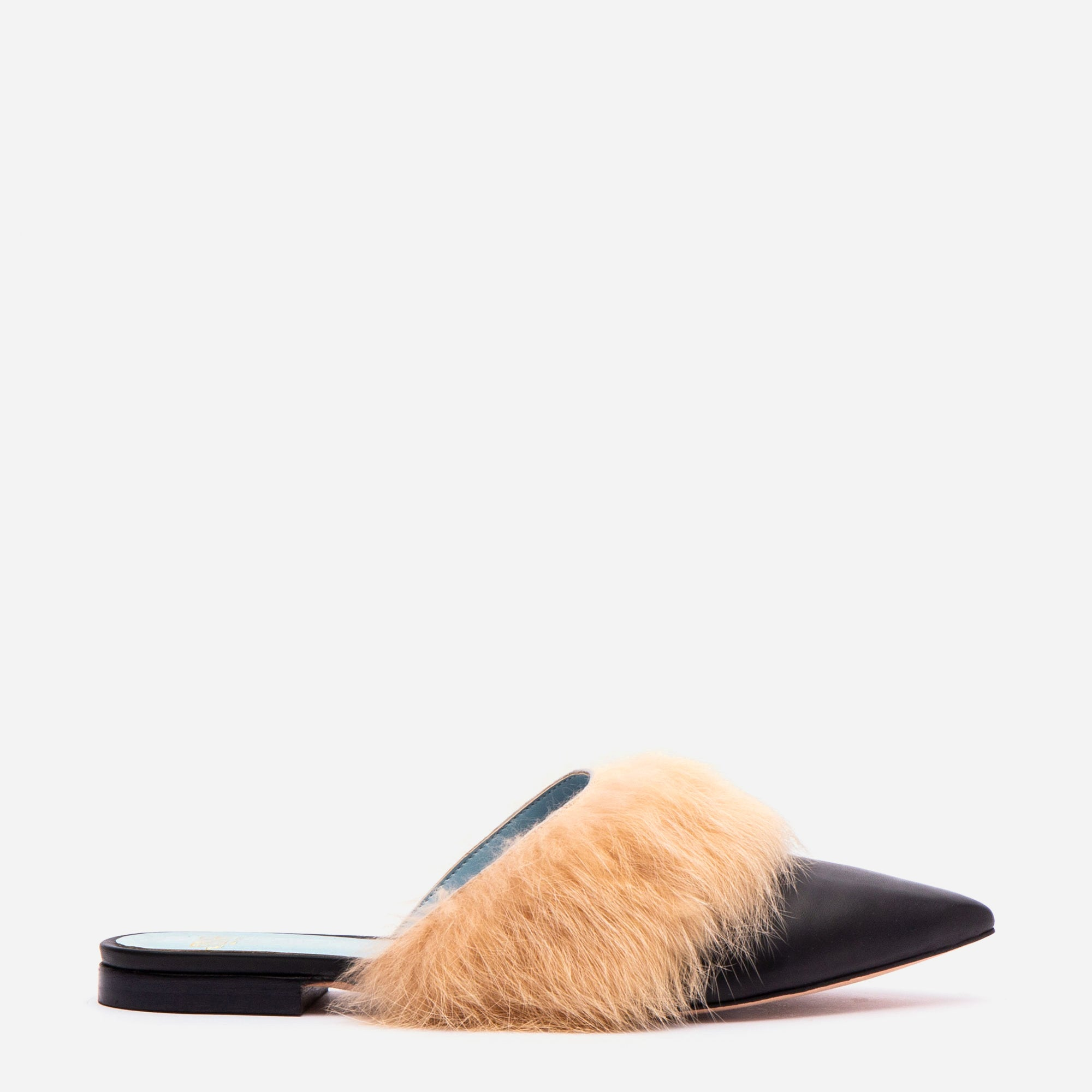 Paloma Calf Leather Fur Cuff Mule Black Camel - Frances Valentine