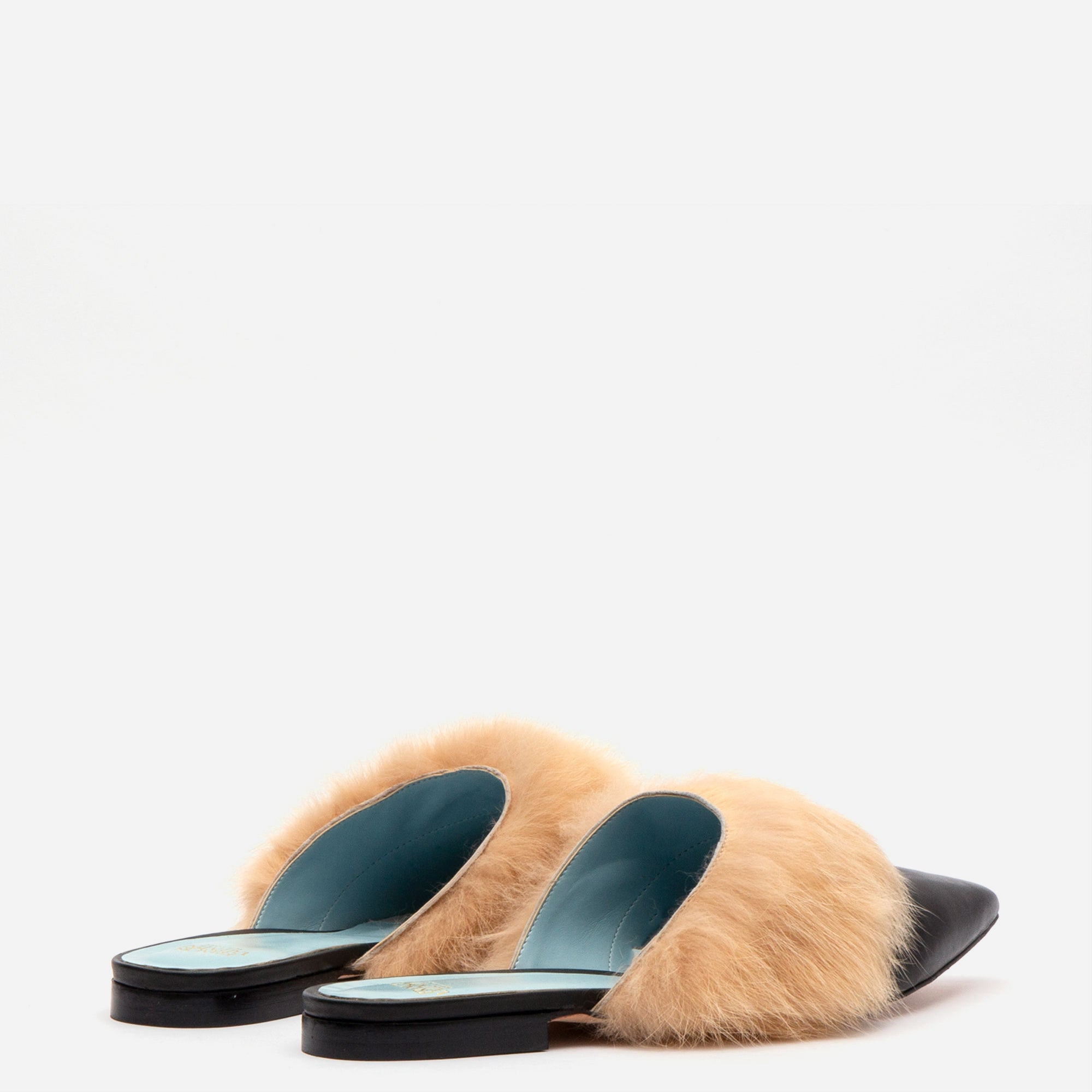 Paloma Calf Leather Fur Cuff Mules Black Camel