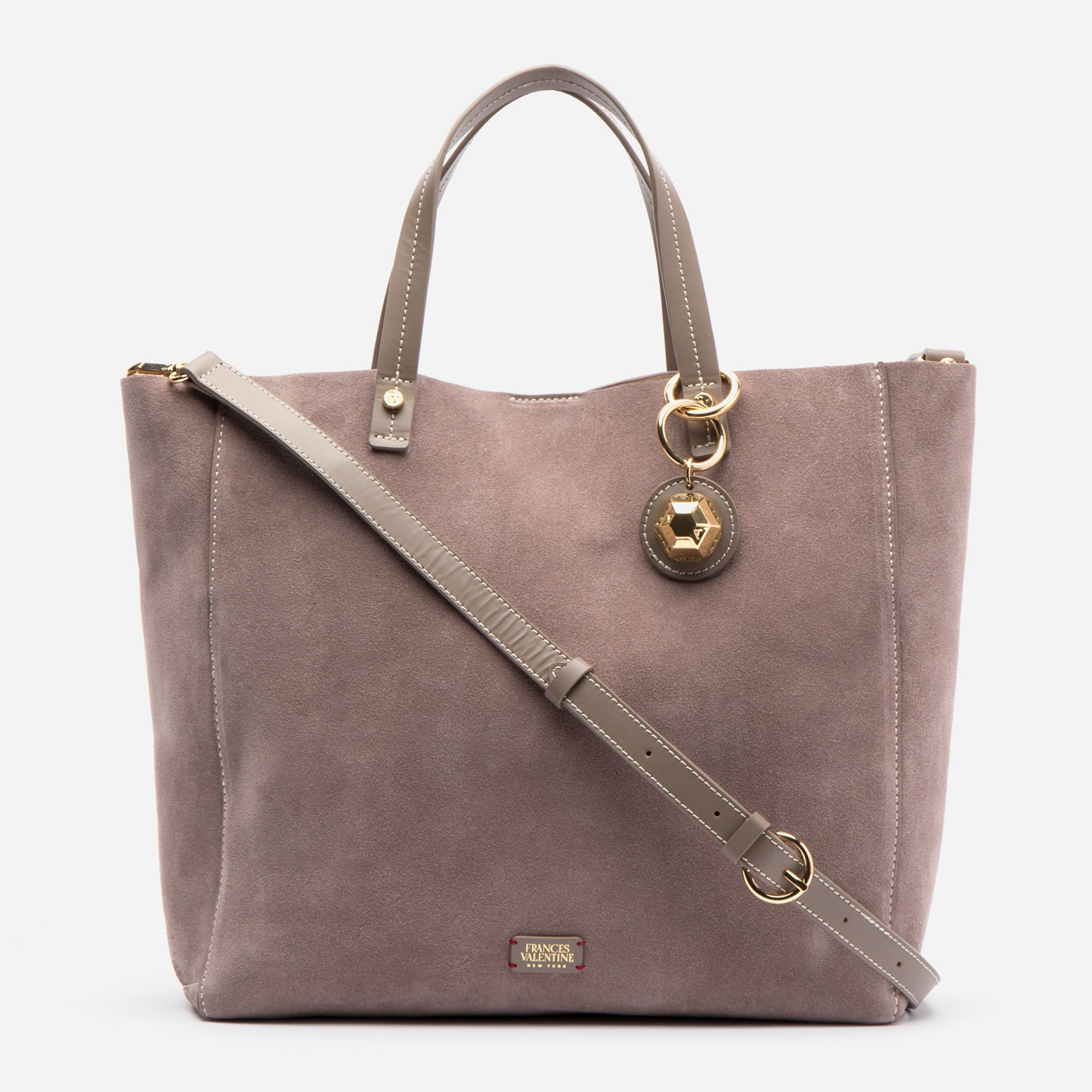 Large Margaret Tote Suede Grey