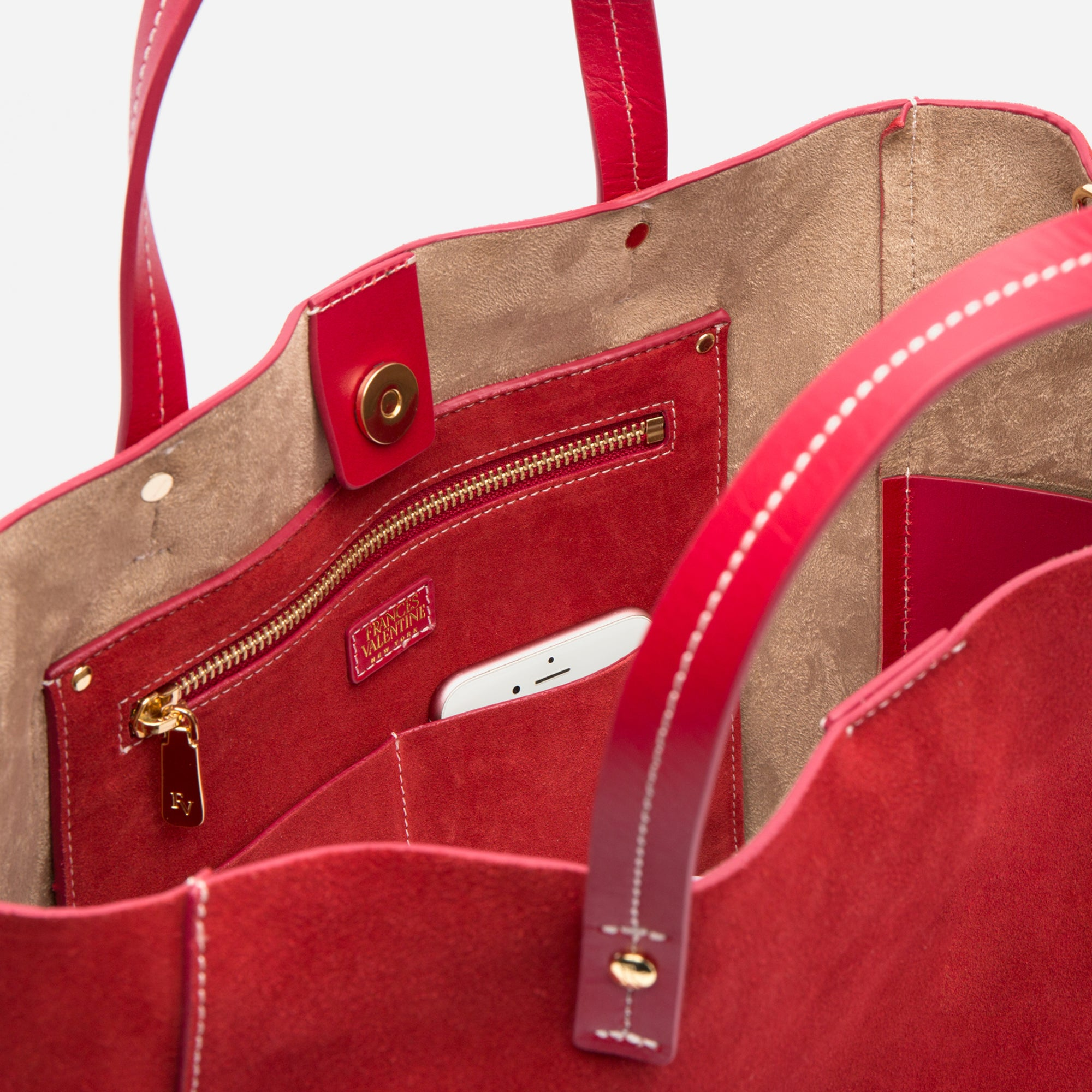 Large Margaret Tote Suede Red