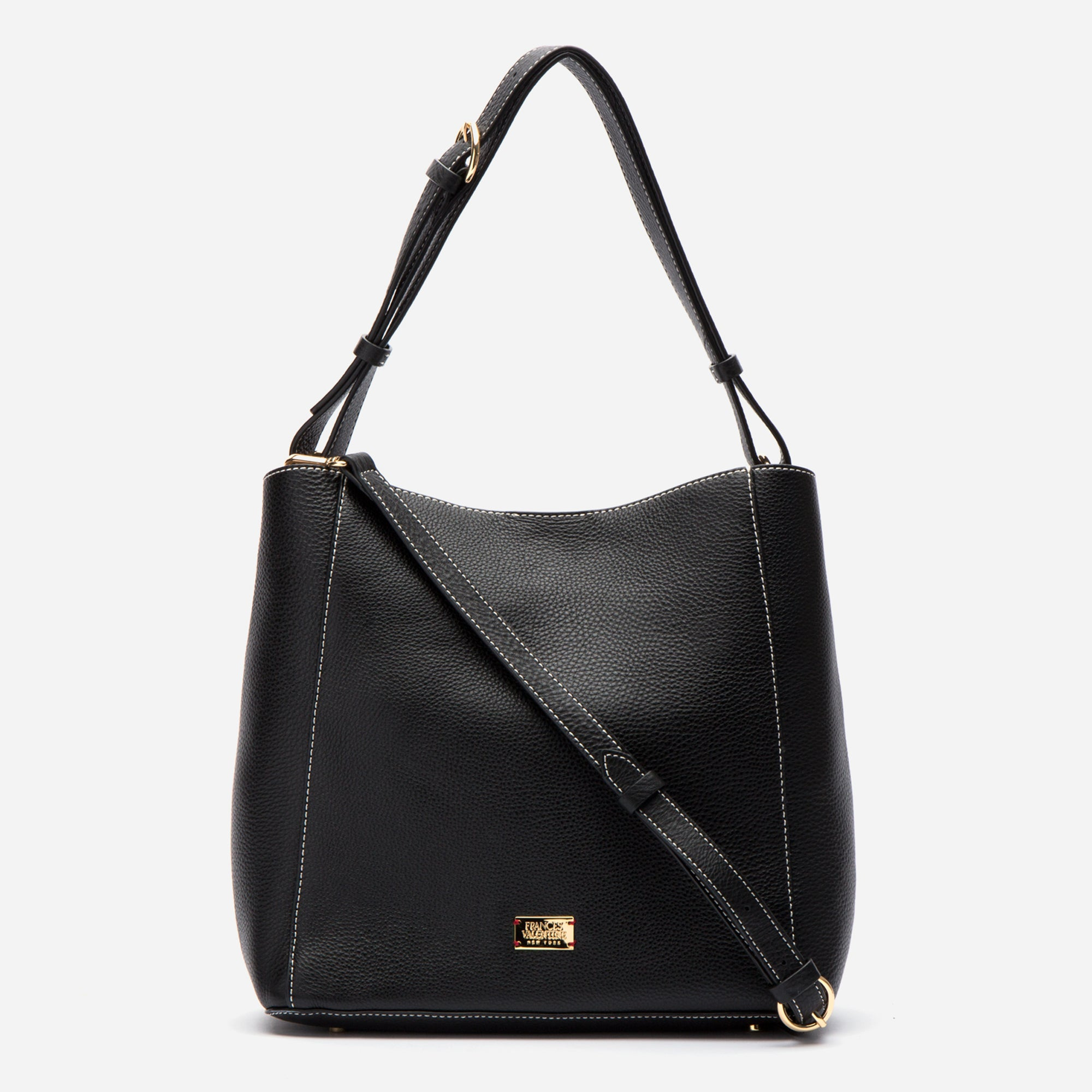 June Hobo Handbag Leather Black - Frances Valentine