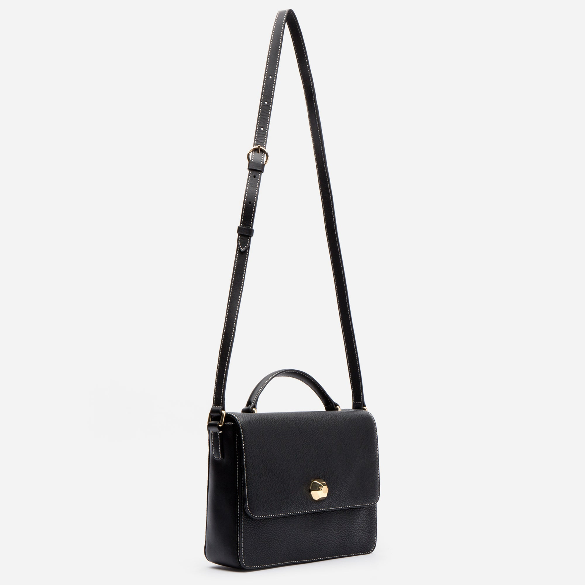 Midge Satchel Leather Black