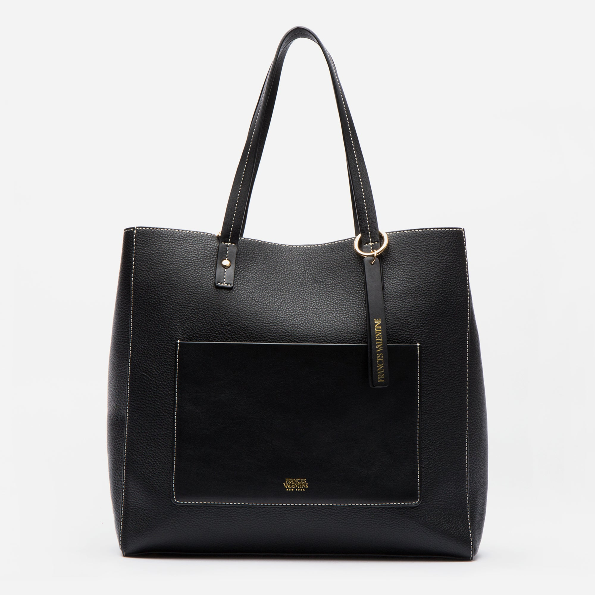 Tall Chloe Tote in tumbled leather. Carry a laptop & everyday essentials. Shop Frances Valentine