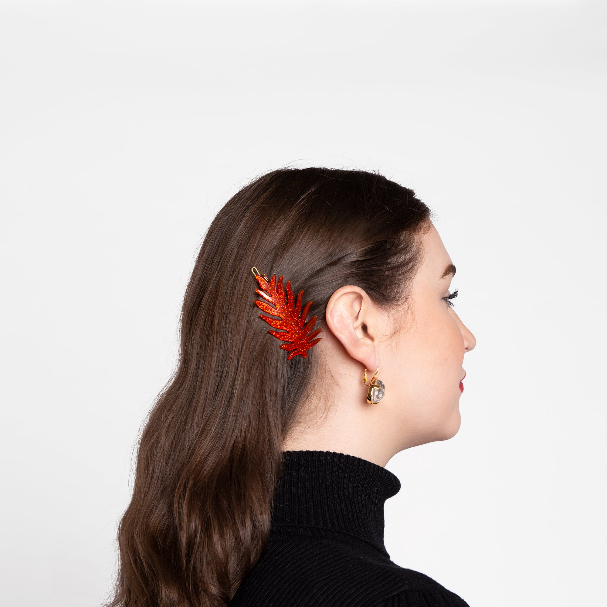 Palm Leaf Barrette Red